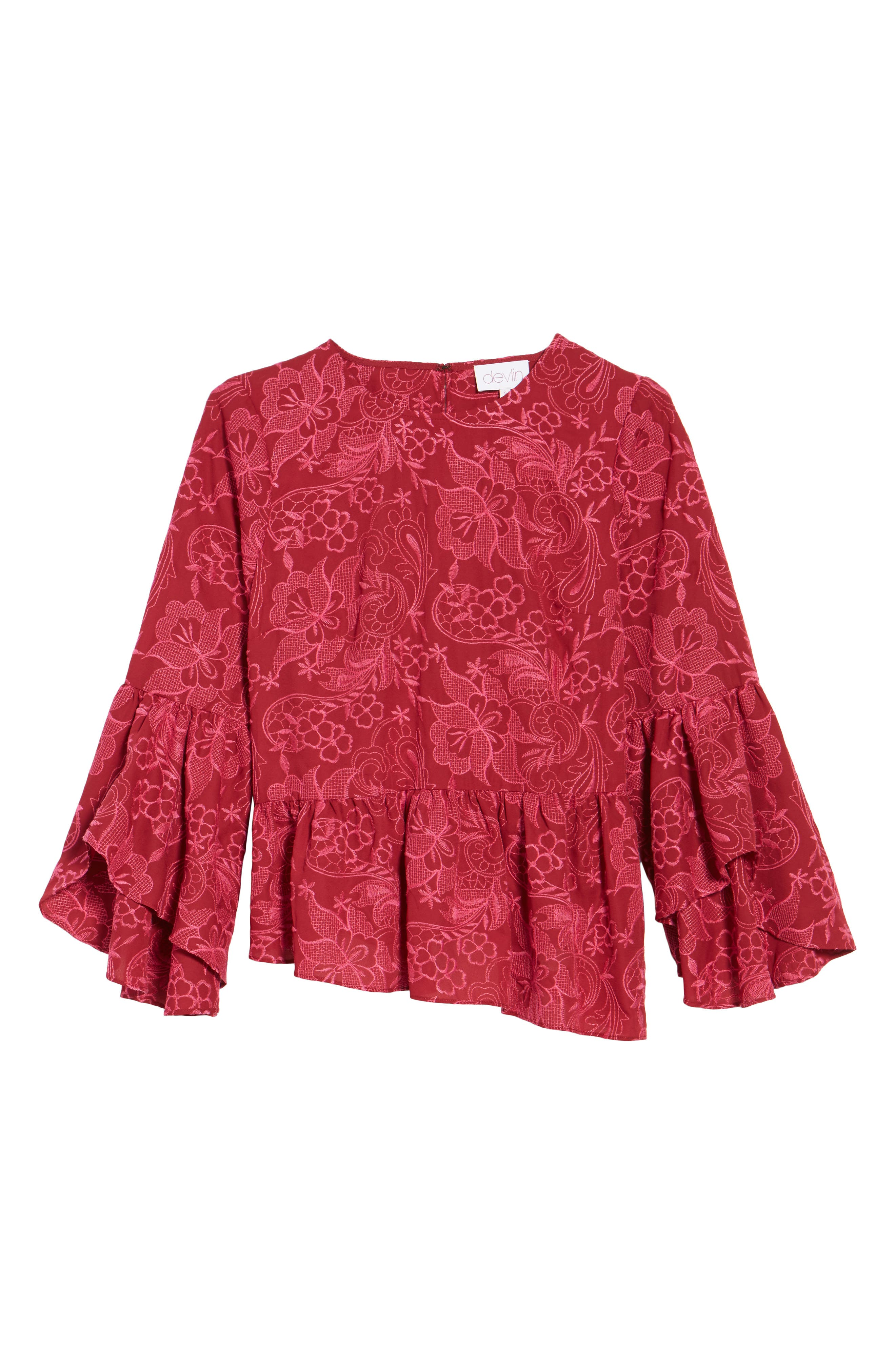 Helena Lace Bell Sleeve Top,                             Alternate thumbnail 6, color,                             Shiraz