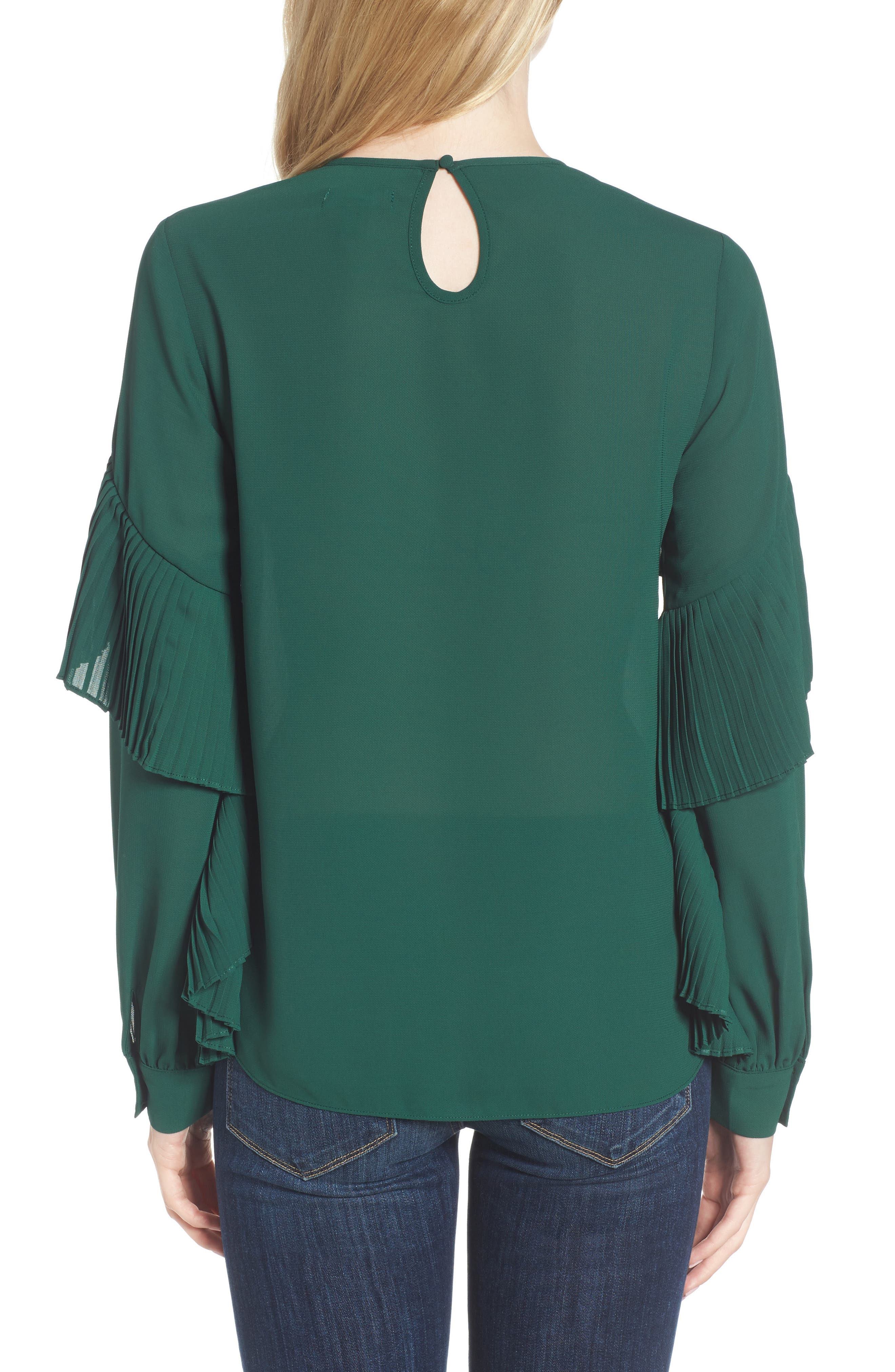 Pleated Ruffle Top,                             Alternate thumbnail 2, color,                             Green Evergreen