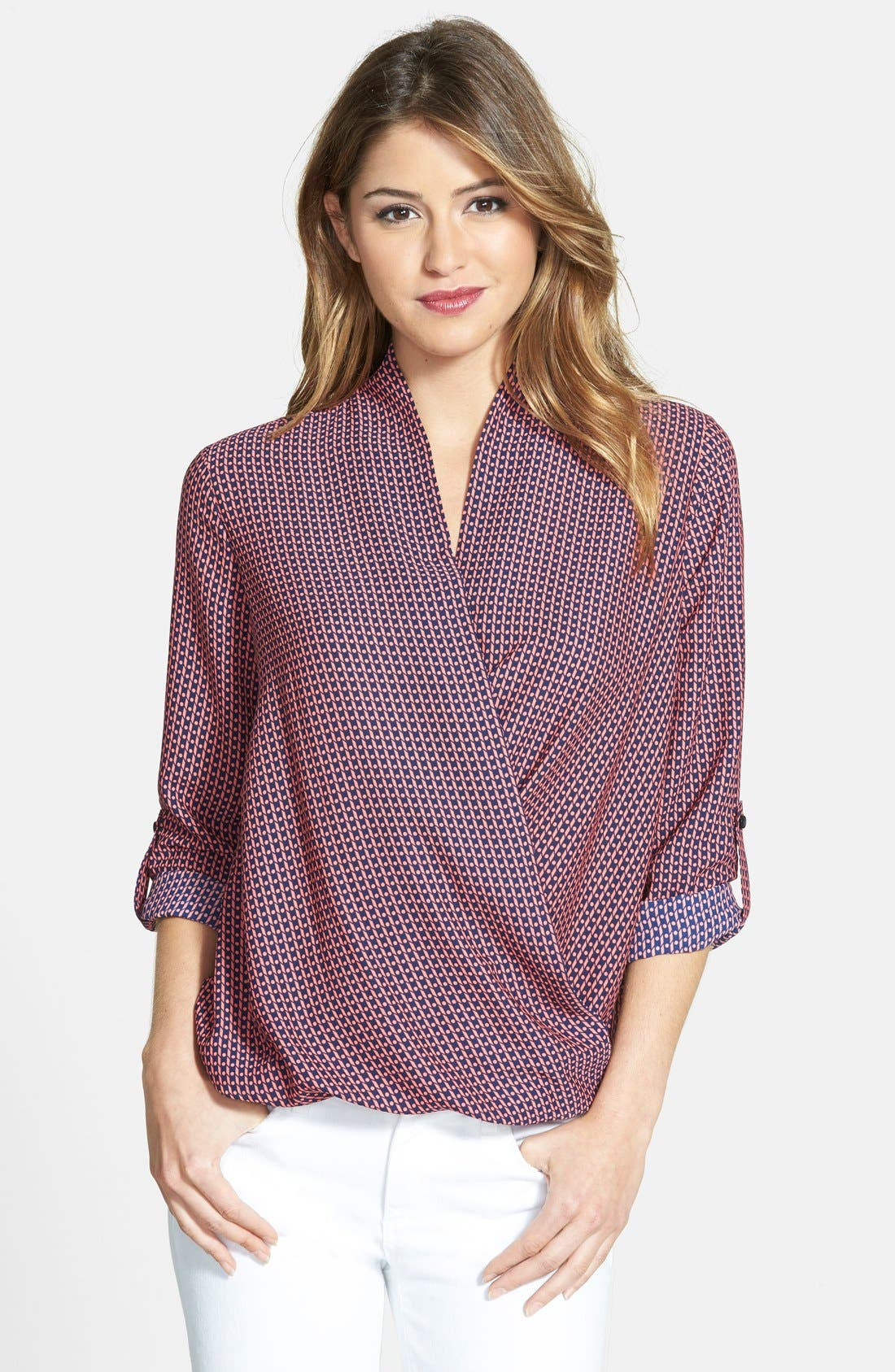 Faux Wrap Blouse,                         Main,                         color, Coral/ Navy Small Dot