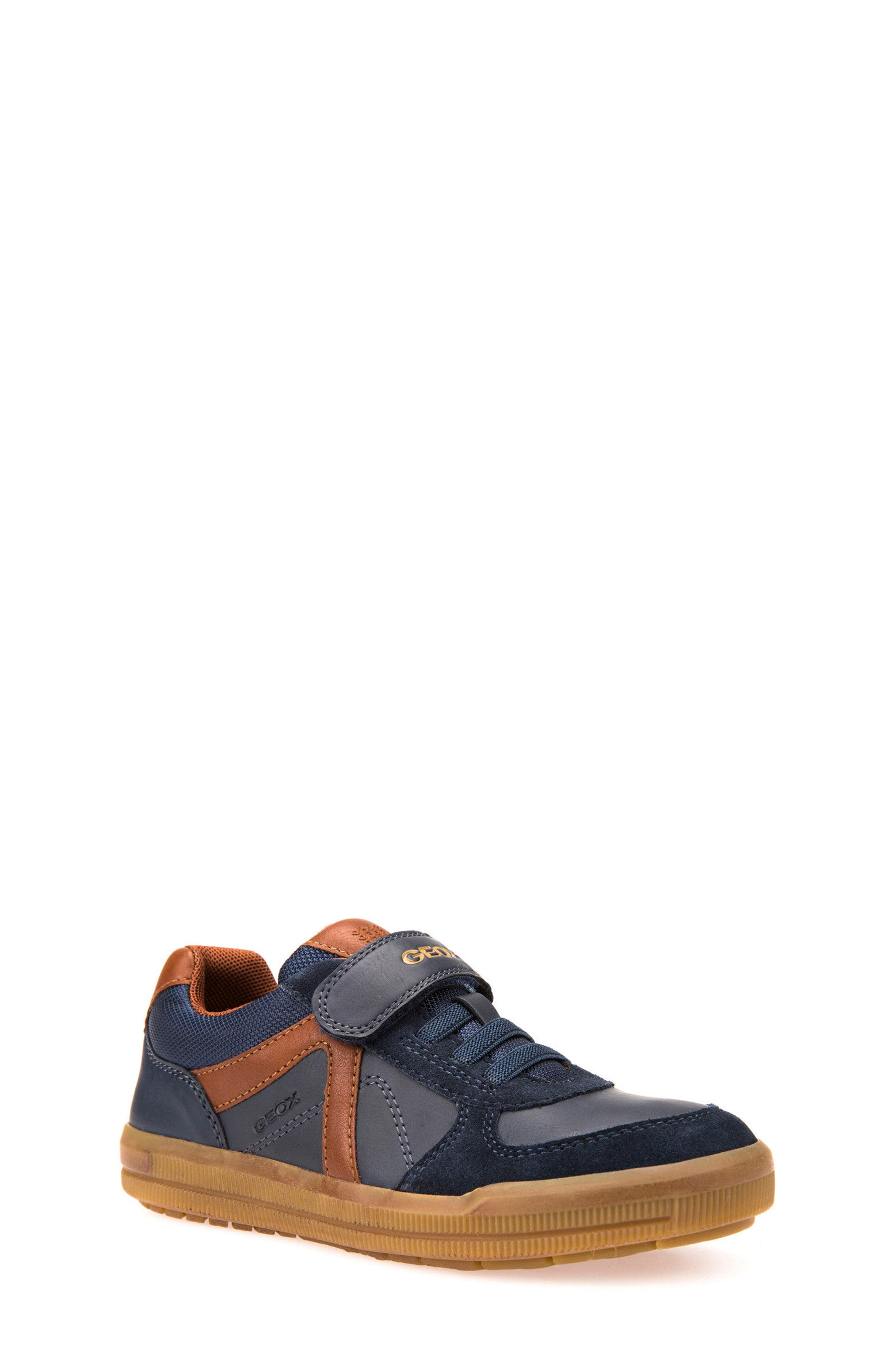 Arzach Low Top Sneaker,                             Main thumbnail 1, color,                             Navy/ Brown