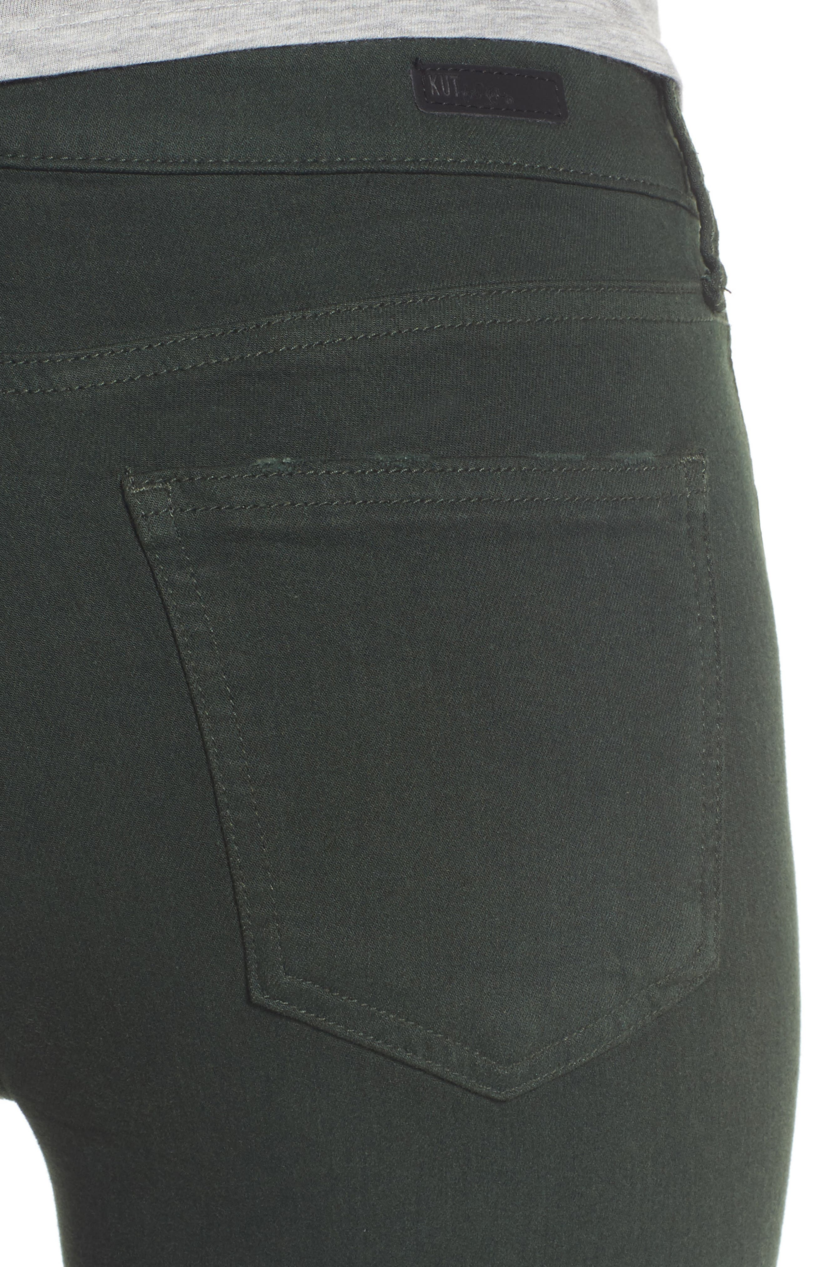 Alternate Image 4  - KUT from The Kloth Mia Ankle Skinny Jeans (Deep Green)