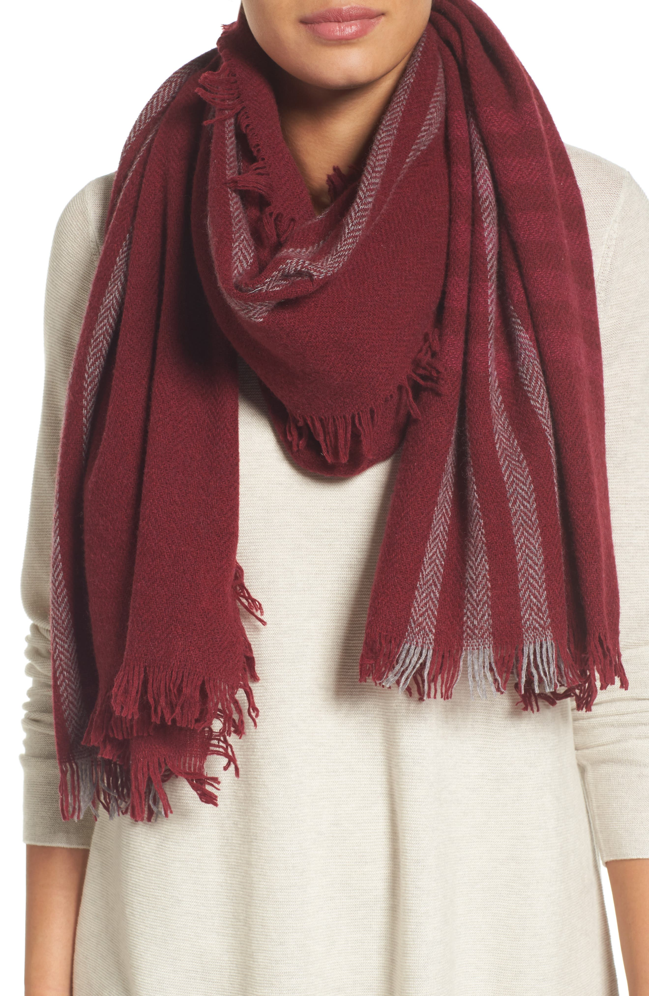 Plaid Wool Blend Scarf,                             Main thumbnail 1, color,                             Hibiscus