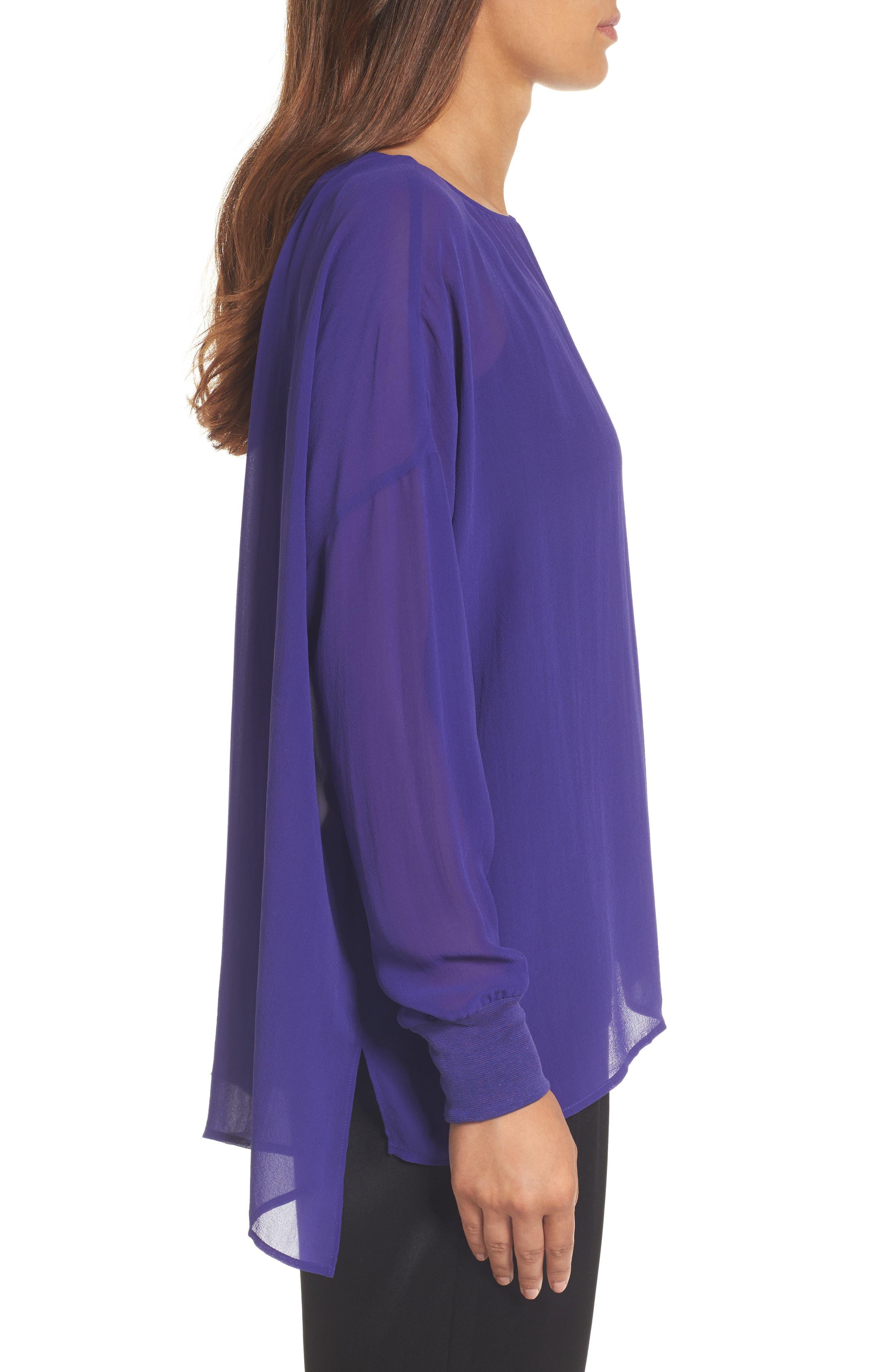 Alternate Image 3  - Eileen Fisher Bateau Neck Silk Boxy Top