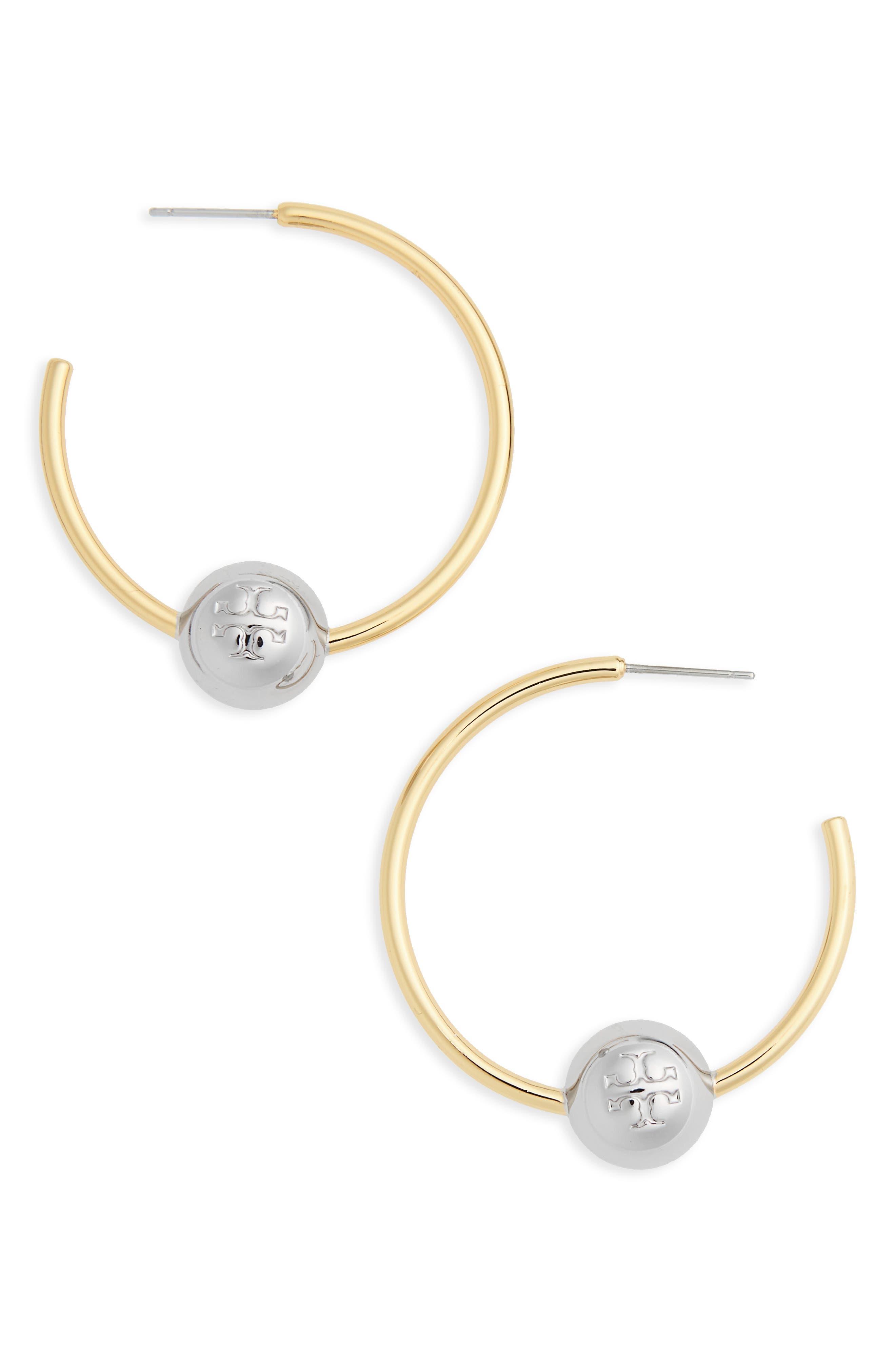 Logo Hoop Earrings,                         Main,                         color, Tory Gold / Tory Silver