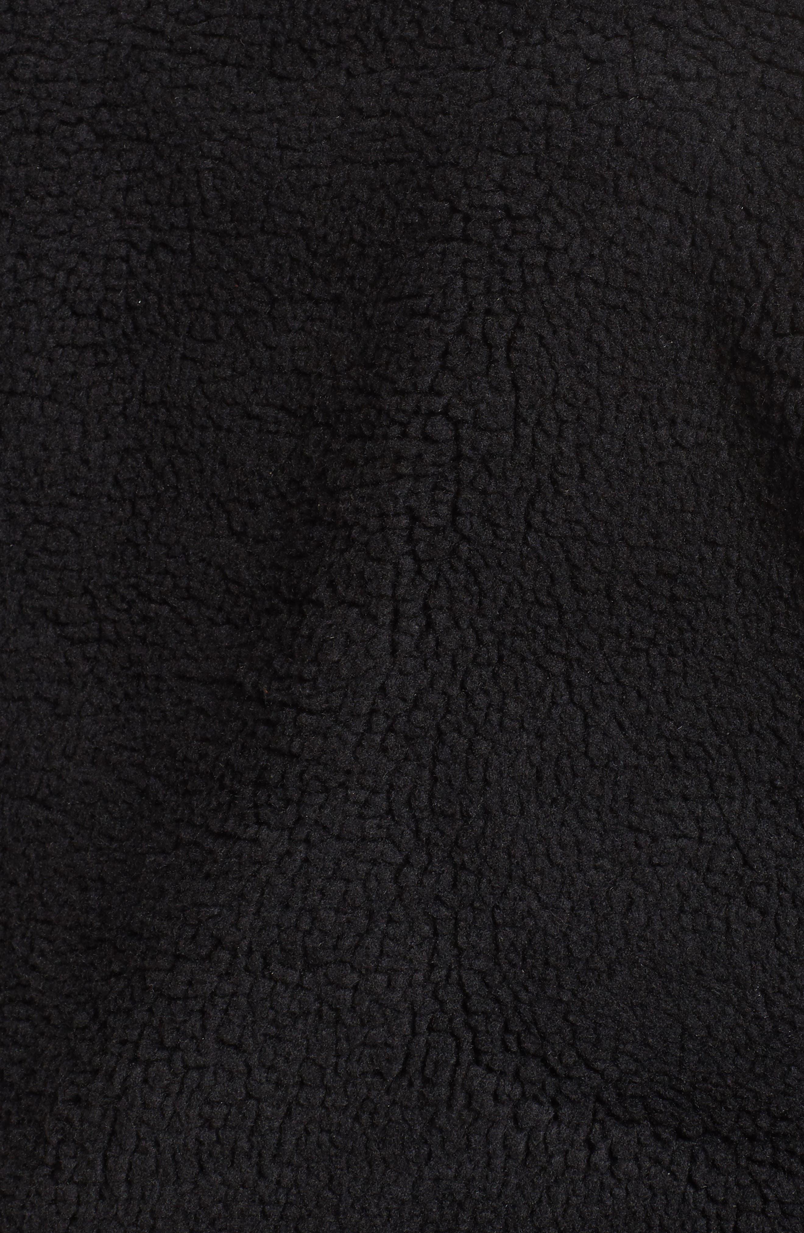 Rib Knit Fleece Bomber Jacket,                             Alternate thumbnail 5, color,                             Black