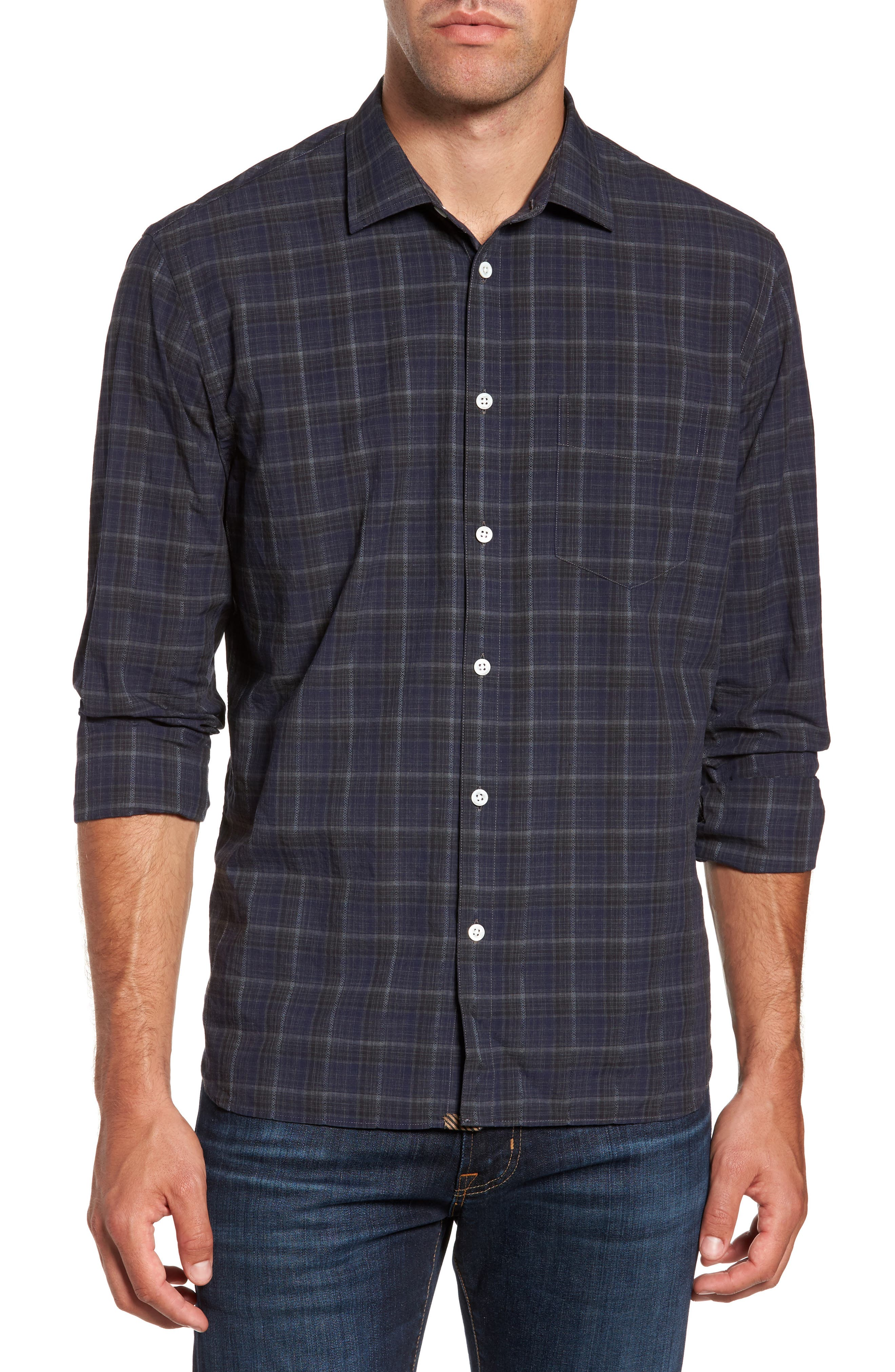 Billy Reid John T Standard Fit Plaid Sport Shirt