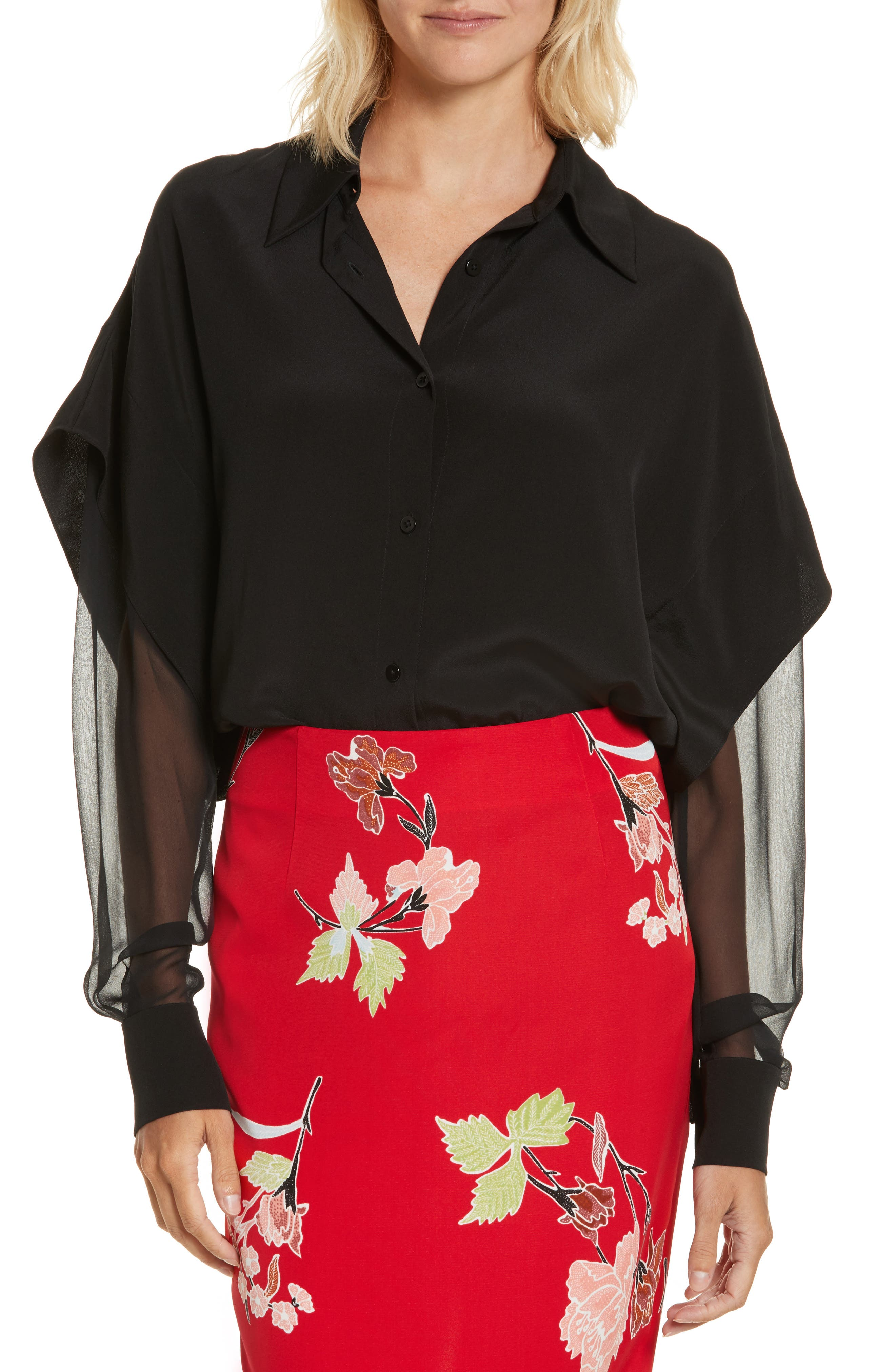 Button-Down Silk Shirt,                         Main,                         color, Black