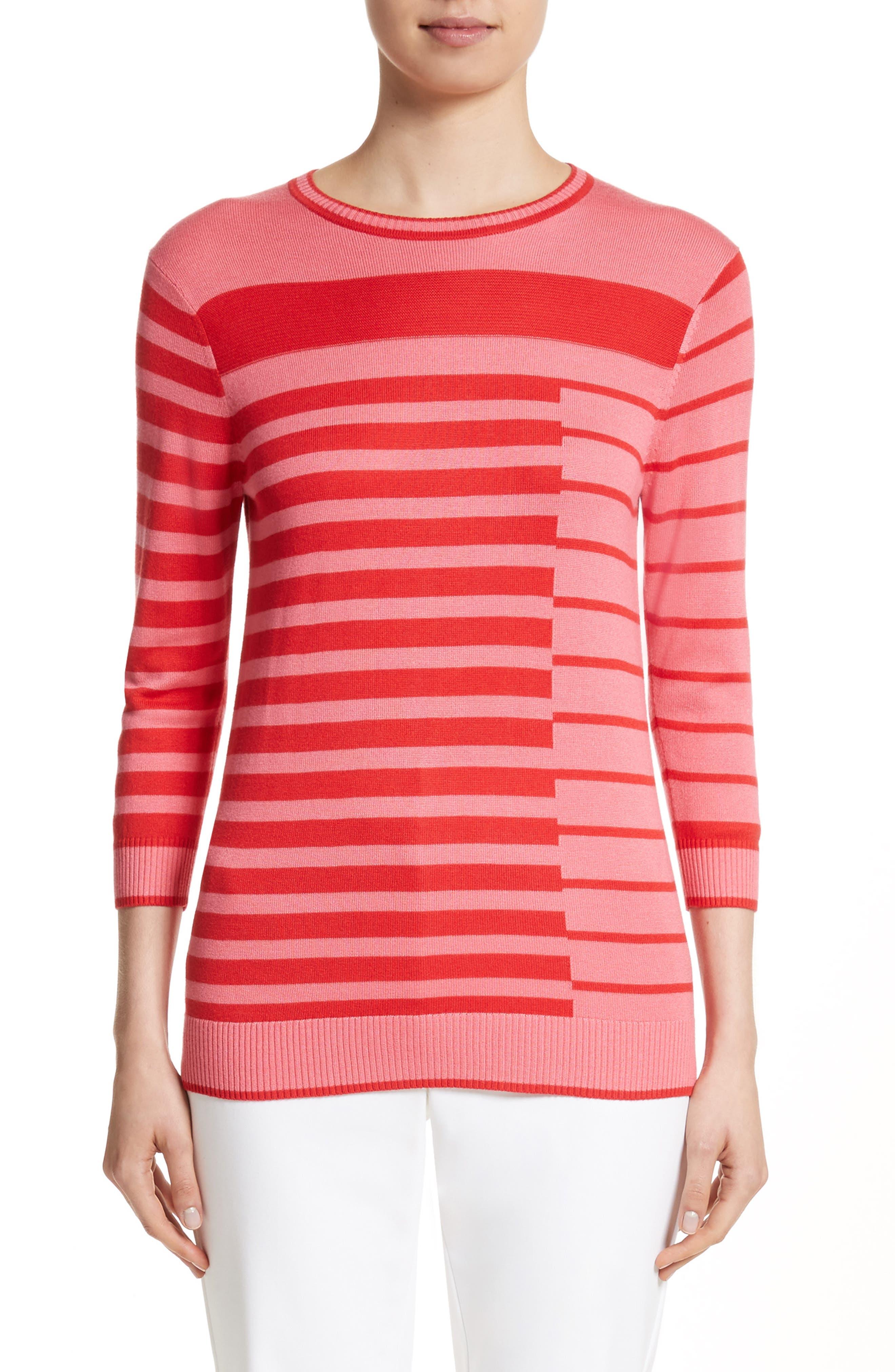 Intarsia Stripe Sweater,                         Main,                         color, Bright Coral/Hibiscus