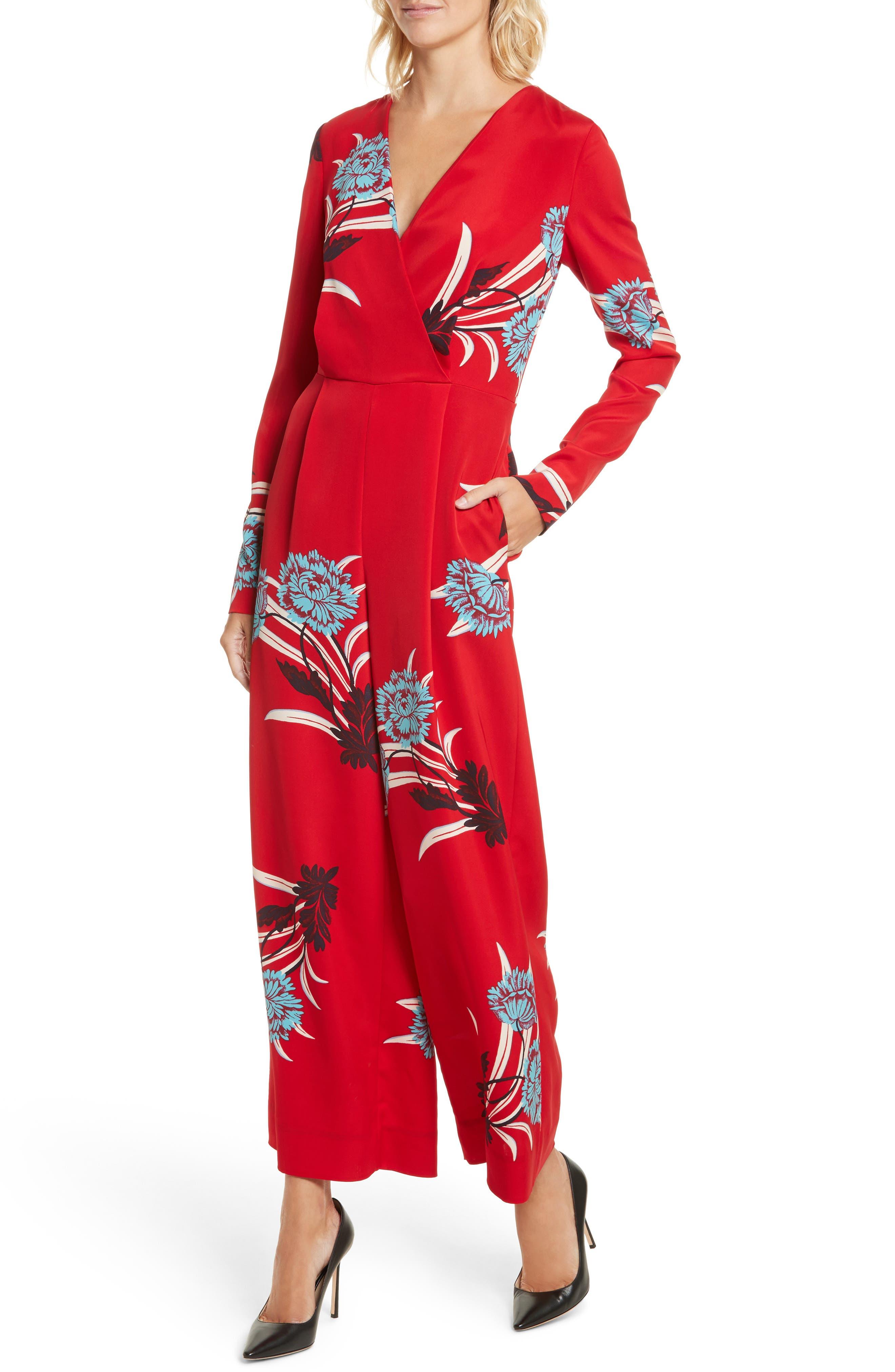 Alternate Image 4  - Diane von Furstenberg Floral Print Crossover Jumpsuit