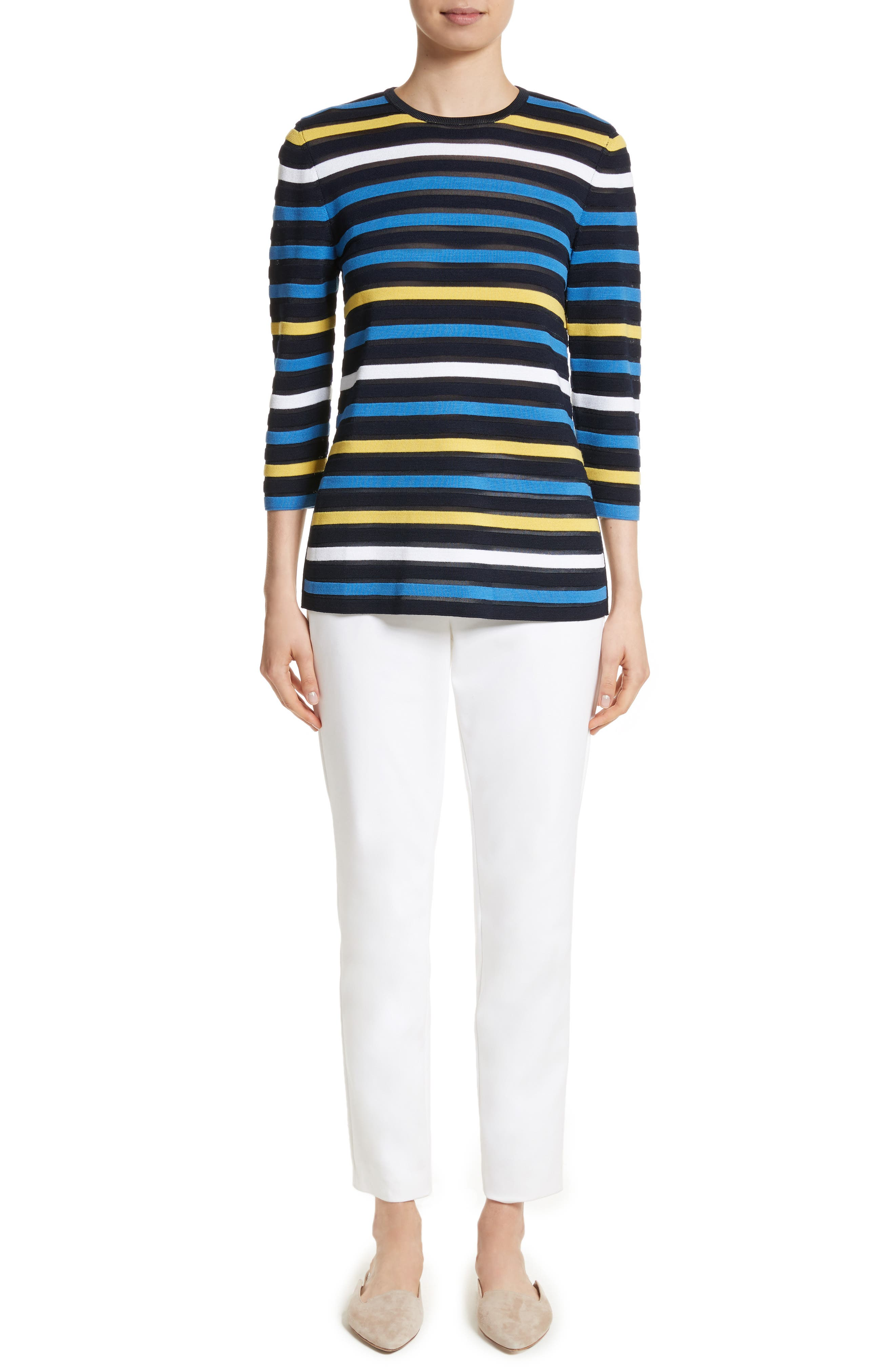 Ombré Stripe Sweater,                             Alternate thumbnail 7, color,                             Navy Multi