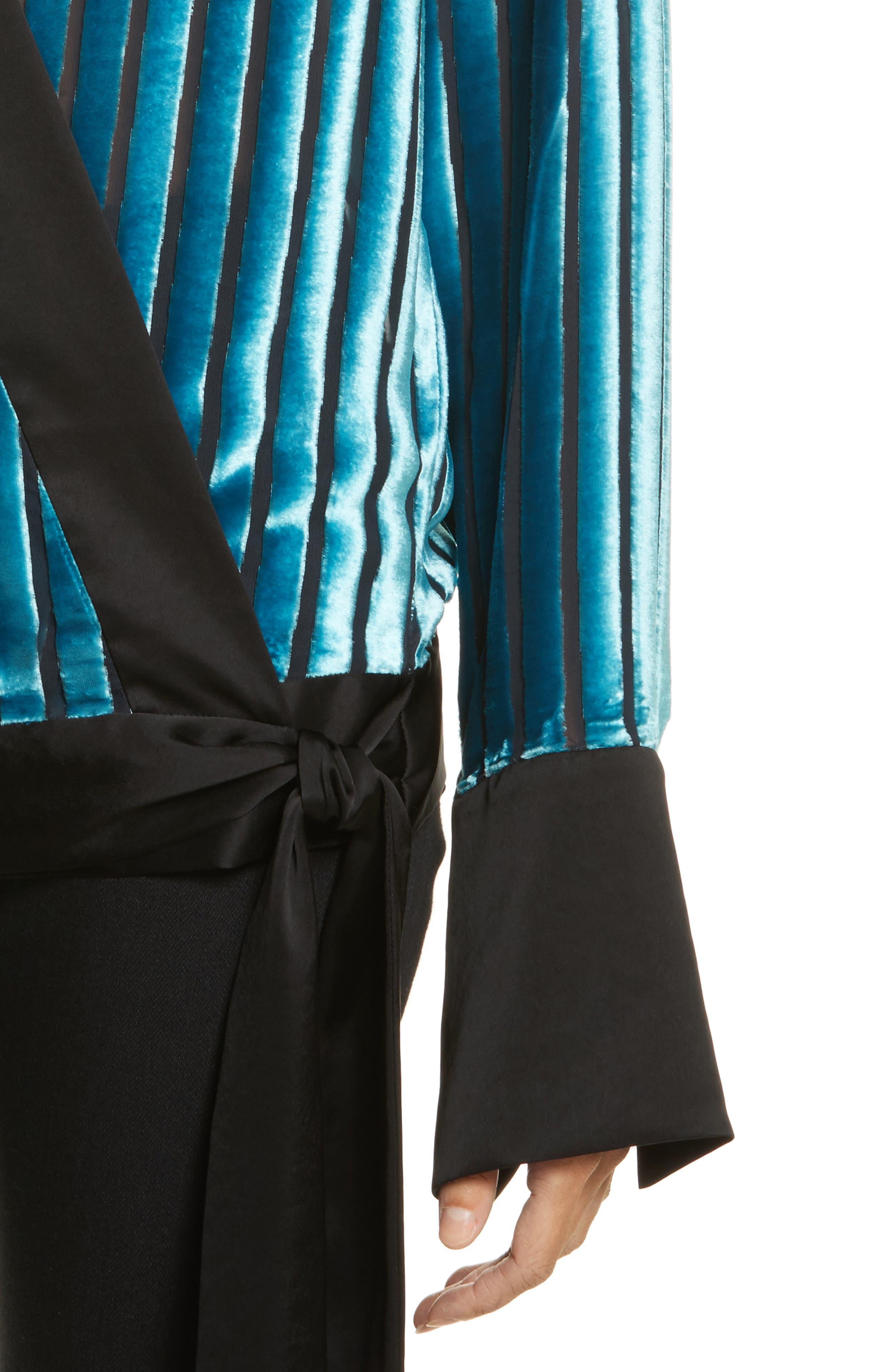 Diane von Furstenberg Velvet Stripe Blouse,                             Alternate thumbnail 4, color,                             Black/ Marine