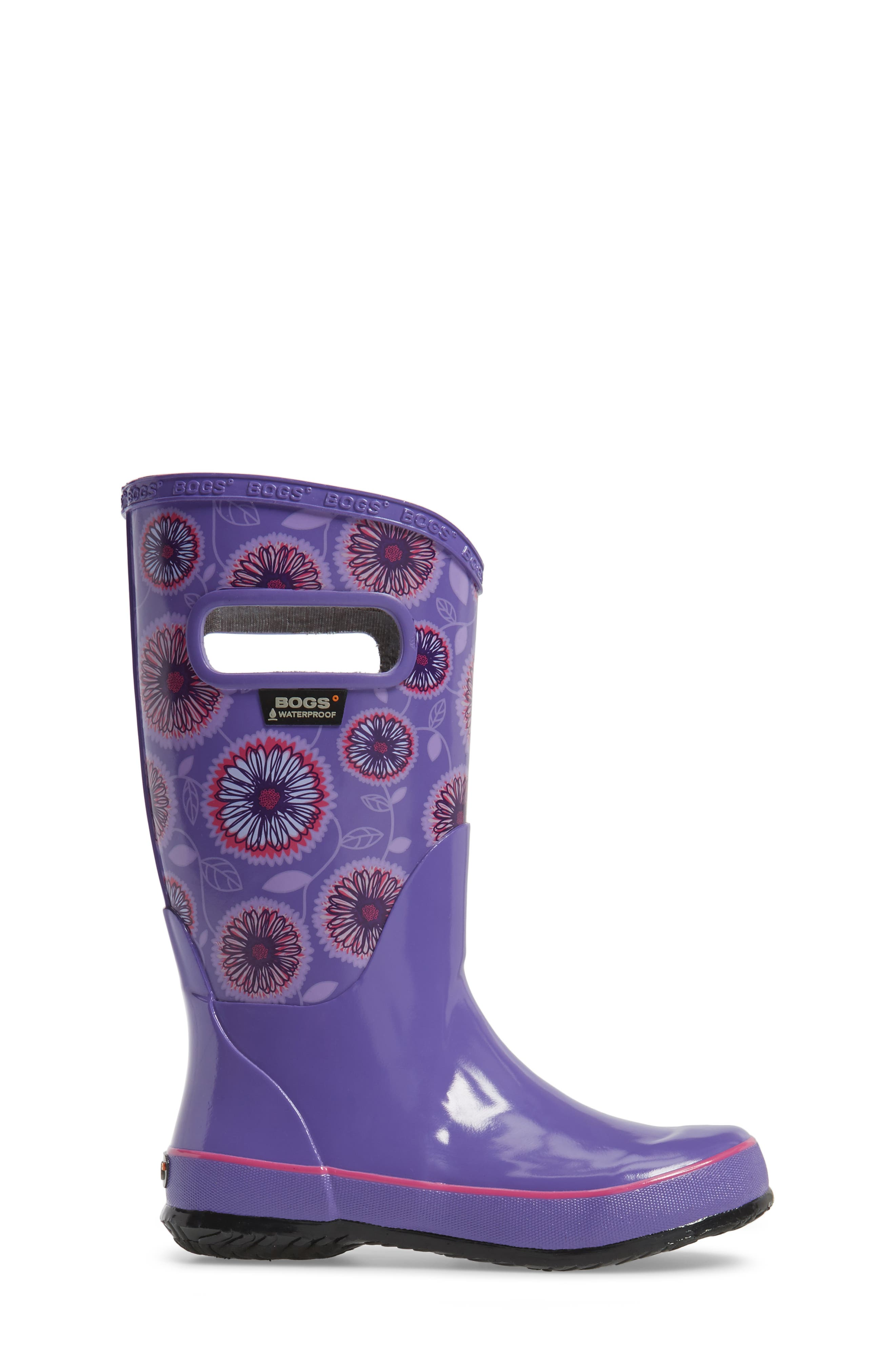 Wildflowers Rubber Rain Boot,                             Alternate thumbnail 3, color,                             Violet Multi
