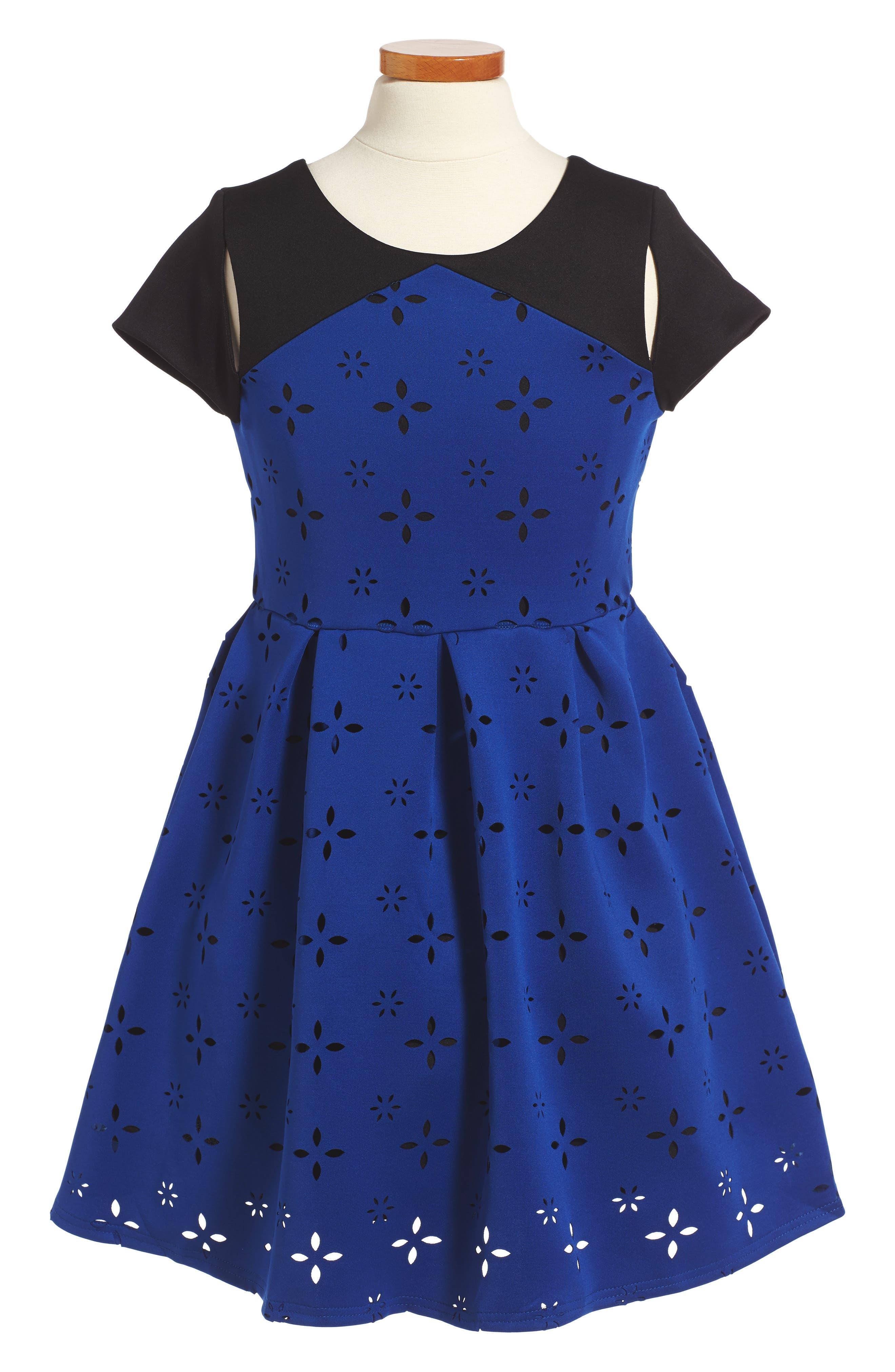 Cutout Dress,                         Main,                         color, Sapphire