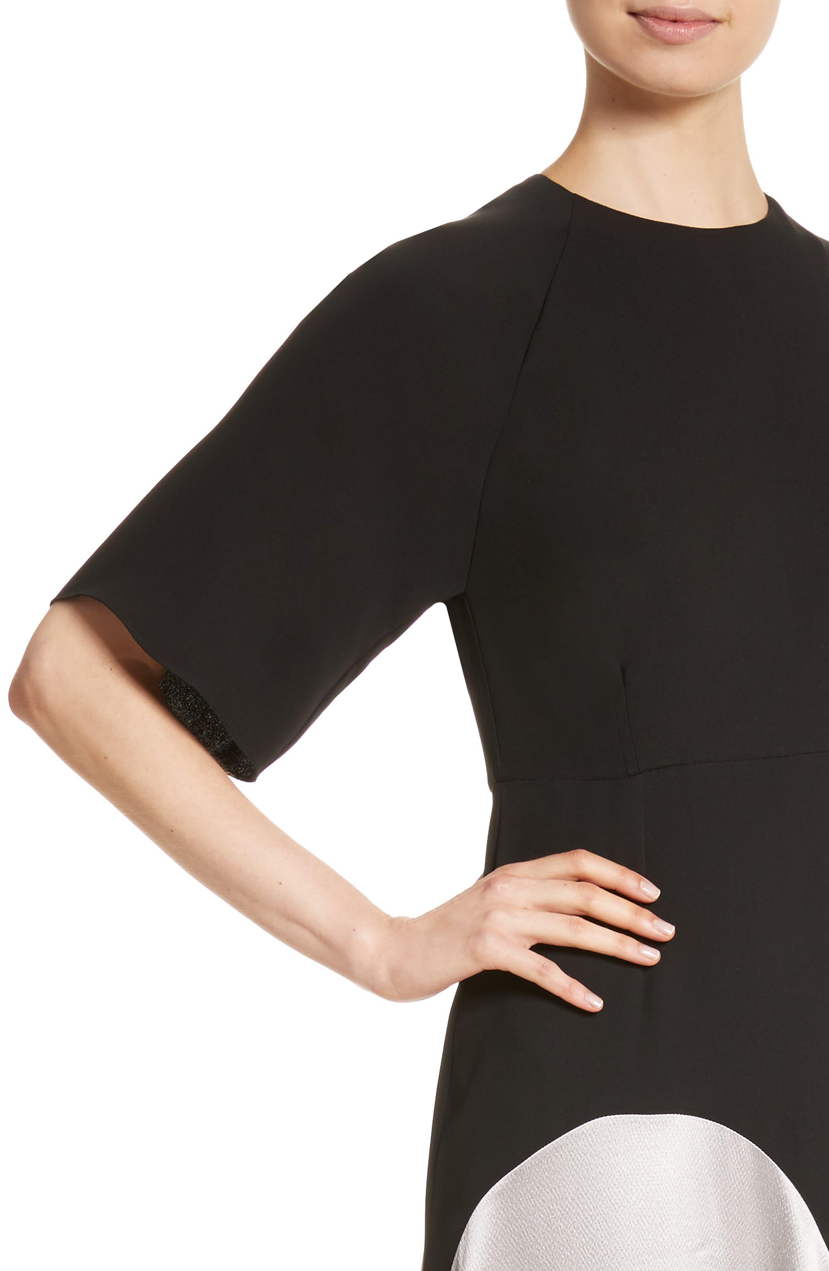Rauma Silk Dress,                             Alternate thumbnail 4, color,                             Black/ Silver/ Sand/ Ivory