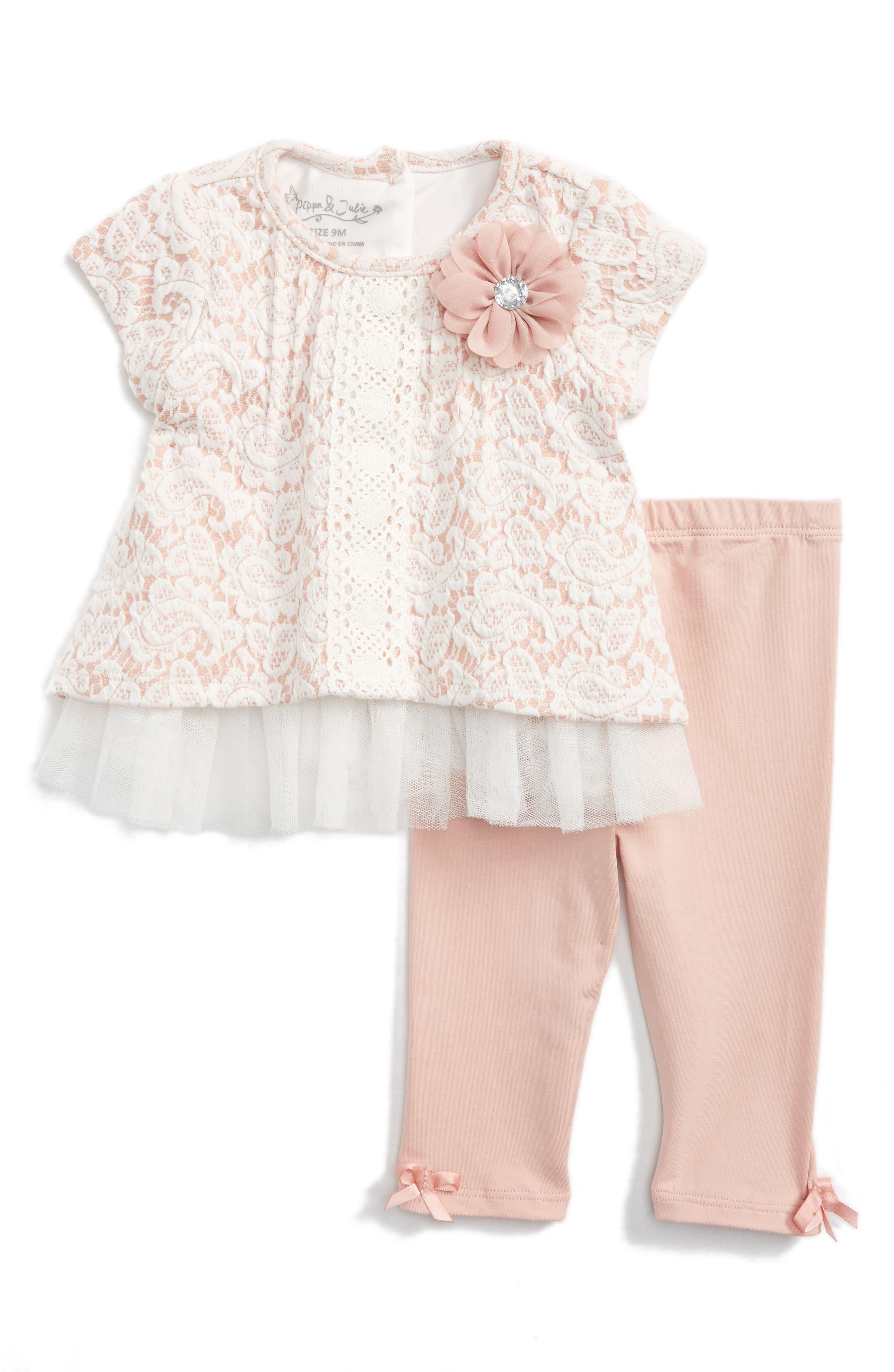 Pippa & Julie Embroidered Tunic & Leggings Set (Baby Girls)
