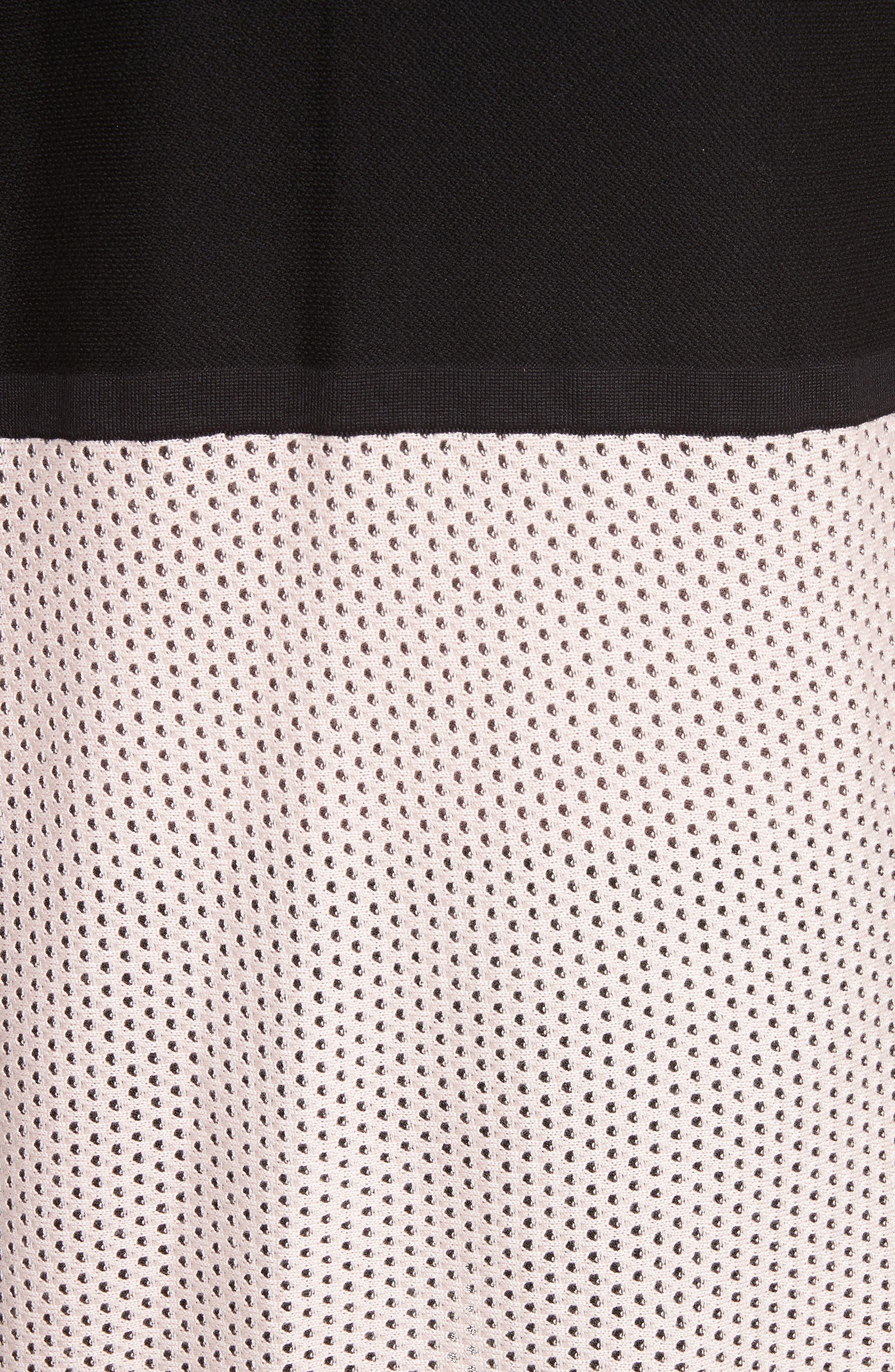 Mesh Knit Cardigan,                             Alternate thumbnail 5, color,                             Caviar/Blush