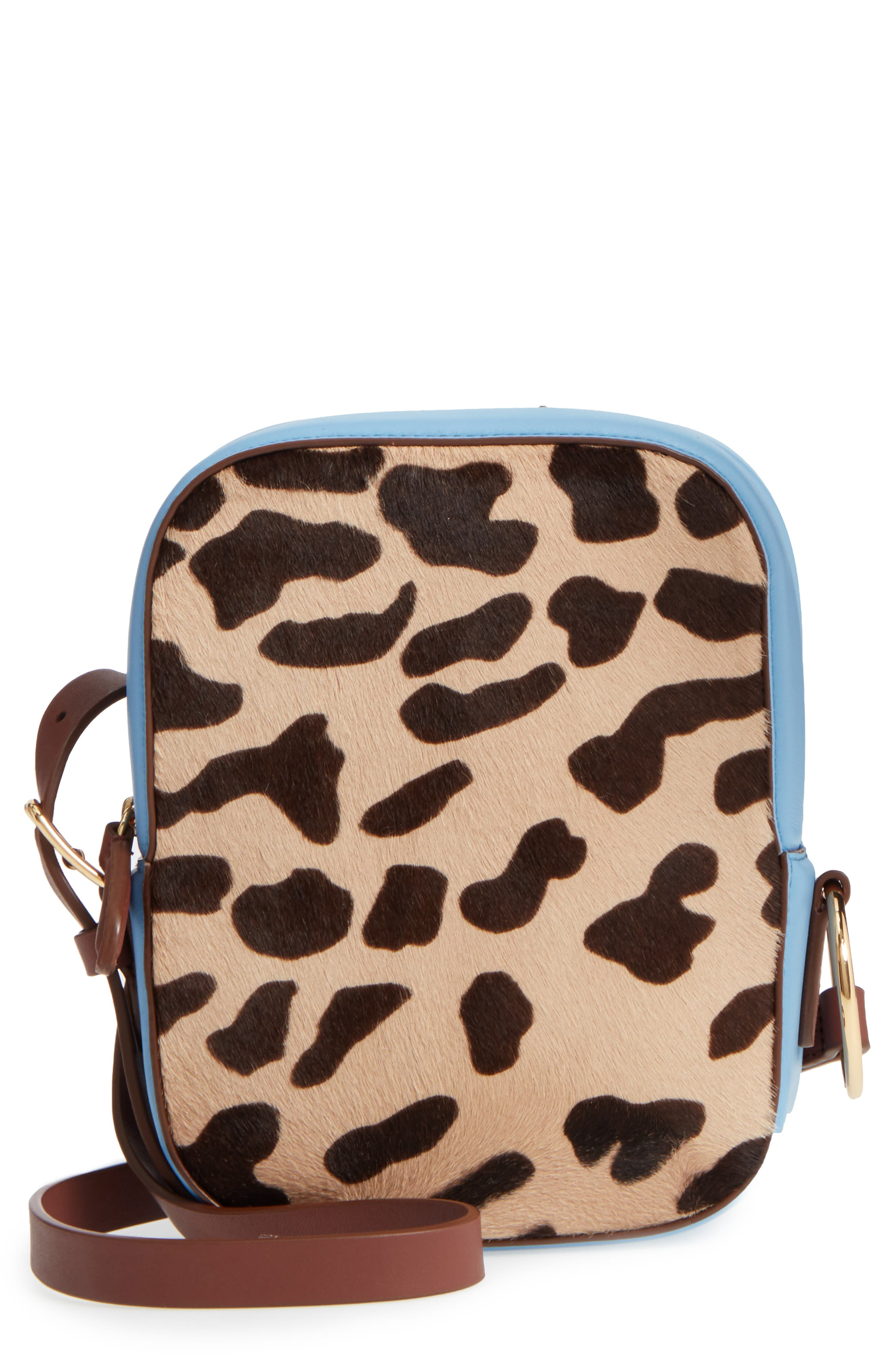 Leather & Genuine Calf Hair Camera Bag,                             Main thumbnail 1, color,                             Leopard/ Powder Blue