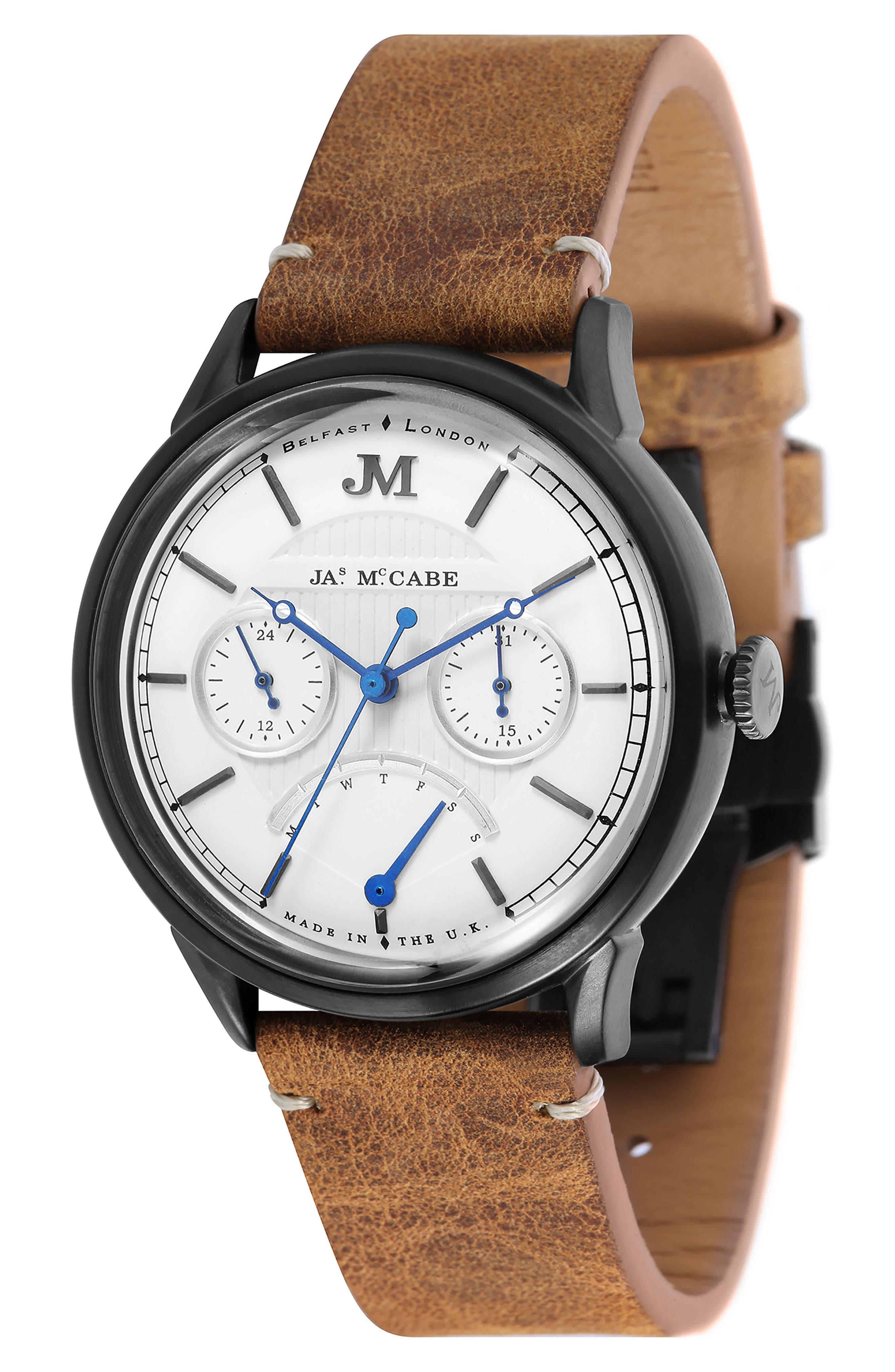 James McCabe Heritage Retrograde II Leather Strap Watch, 35mm