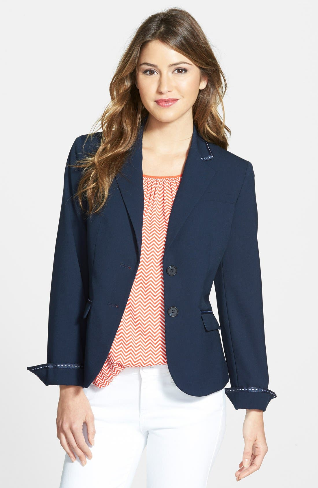 Main Image - Jones New York 'Olivia' Grosgrain Trim Jacket