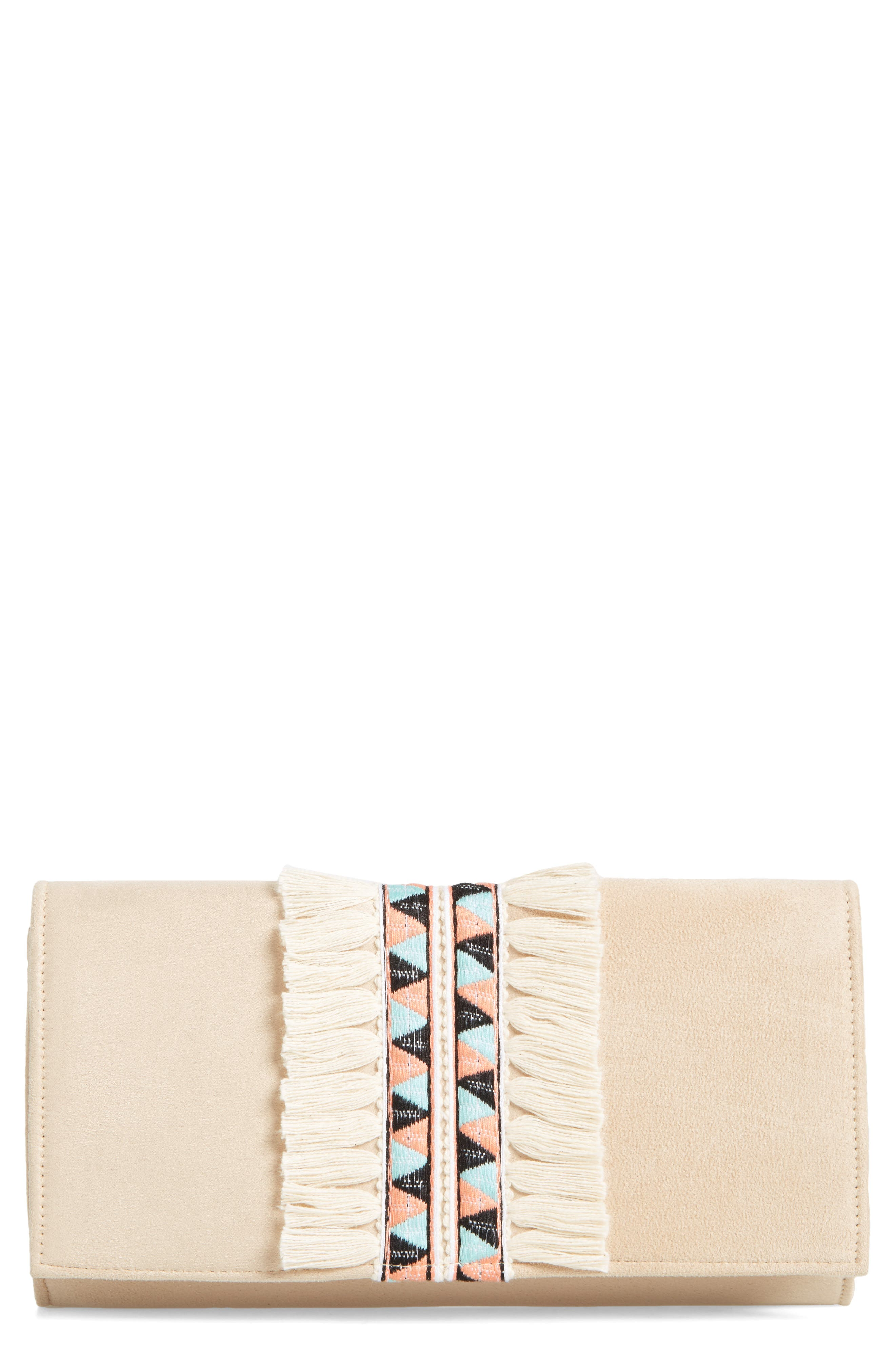 Rada Embroidered Clutch,                             Main thumbnail 1, color,                             Sand