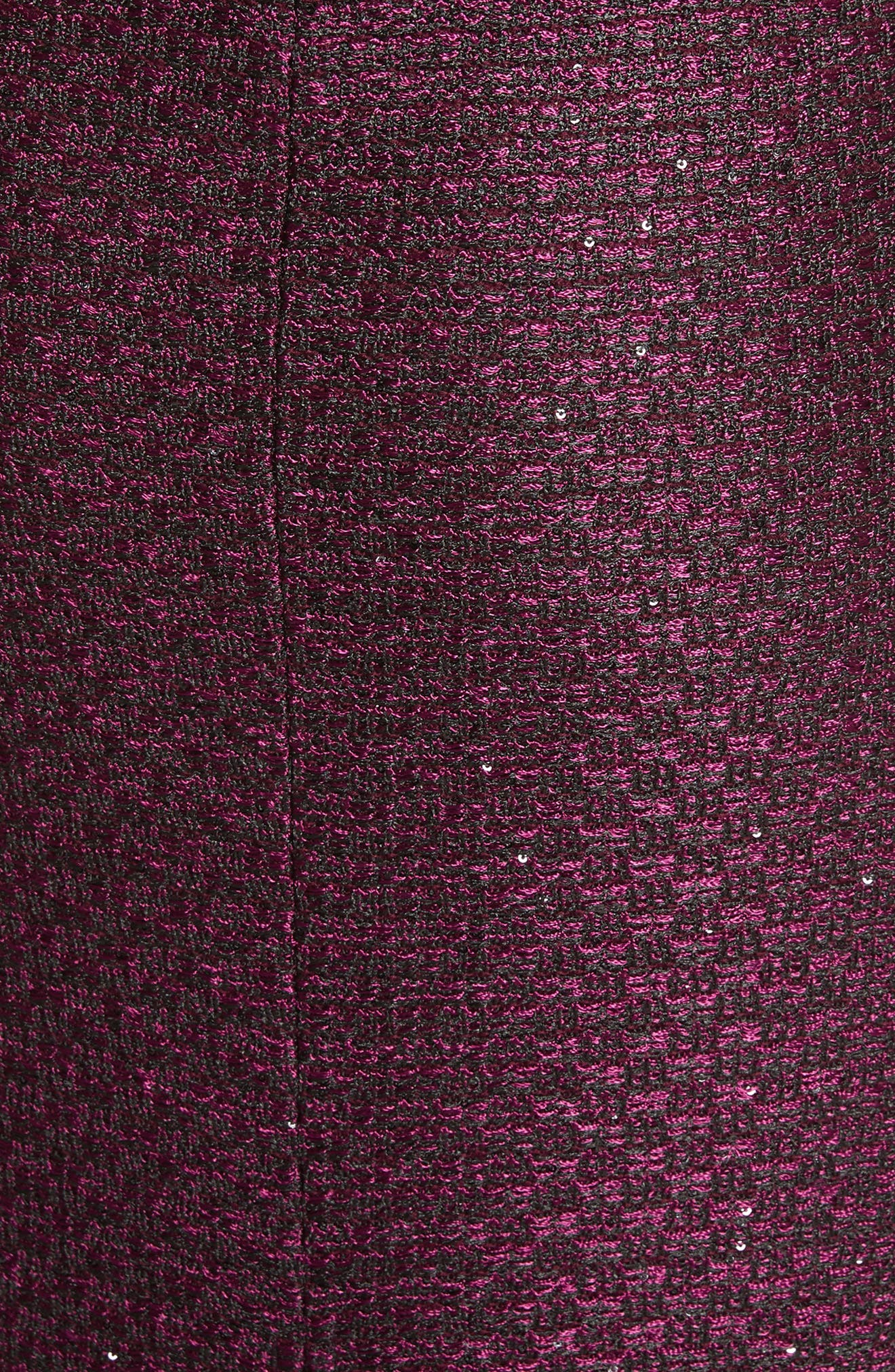 Scooped Neck Hansh Knit Column Gown,                             Alternate thumbnail 5, color,                             Currant Multi
