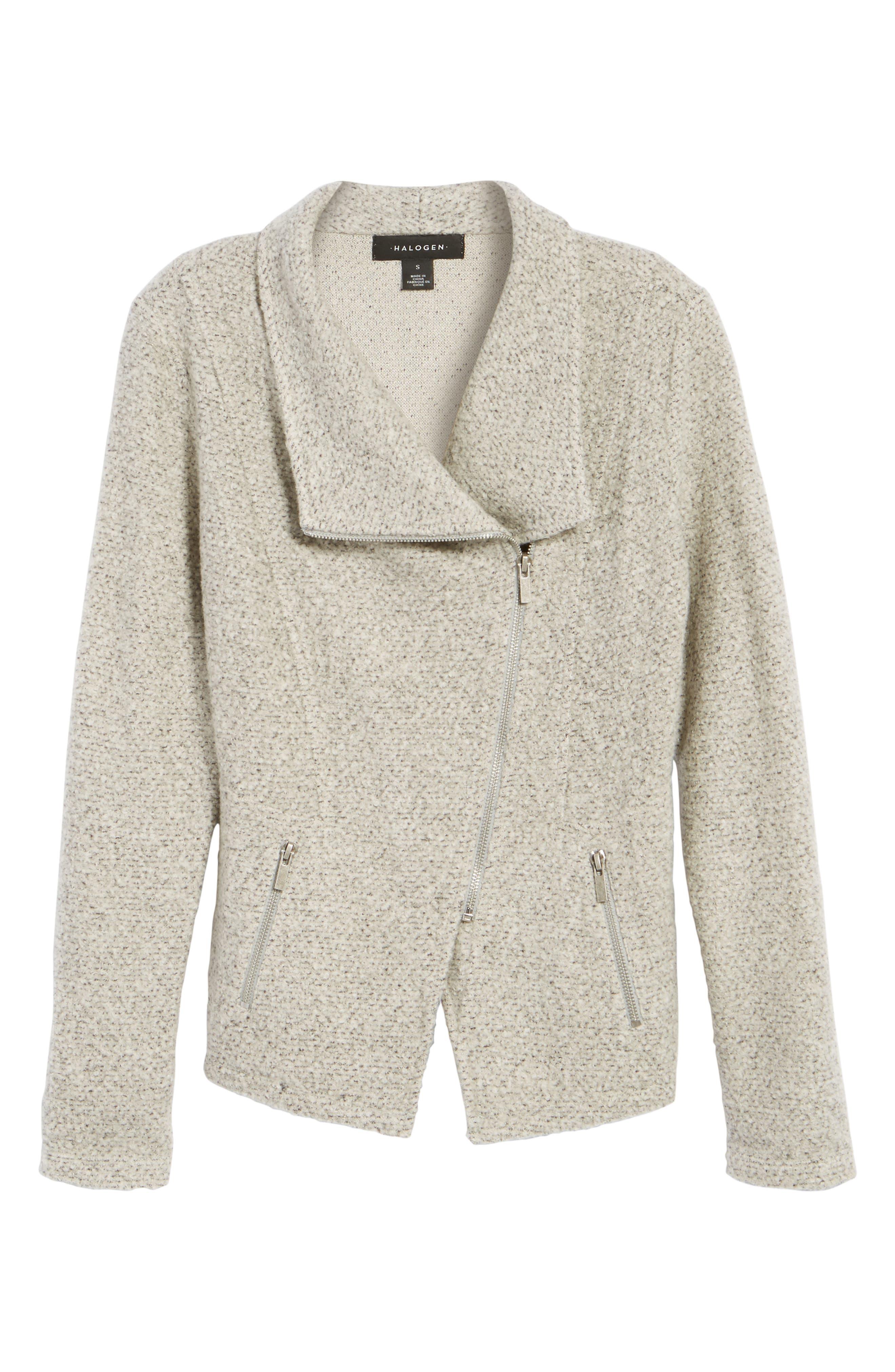 Alternate Image 6  - Halogen® Knit Moto Jacket (Regular & Petite)