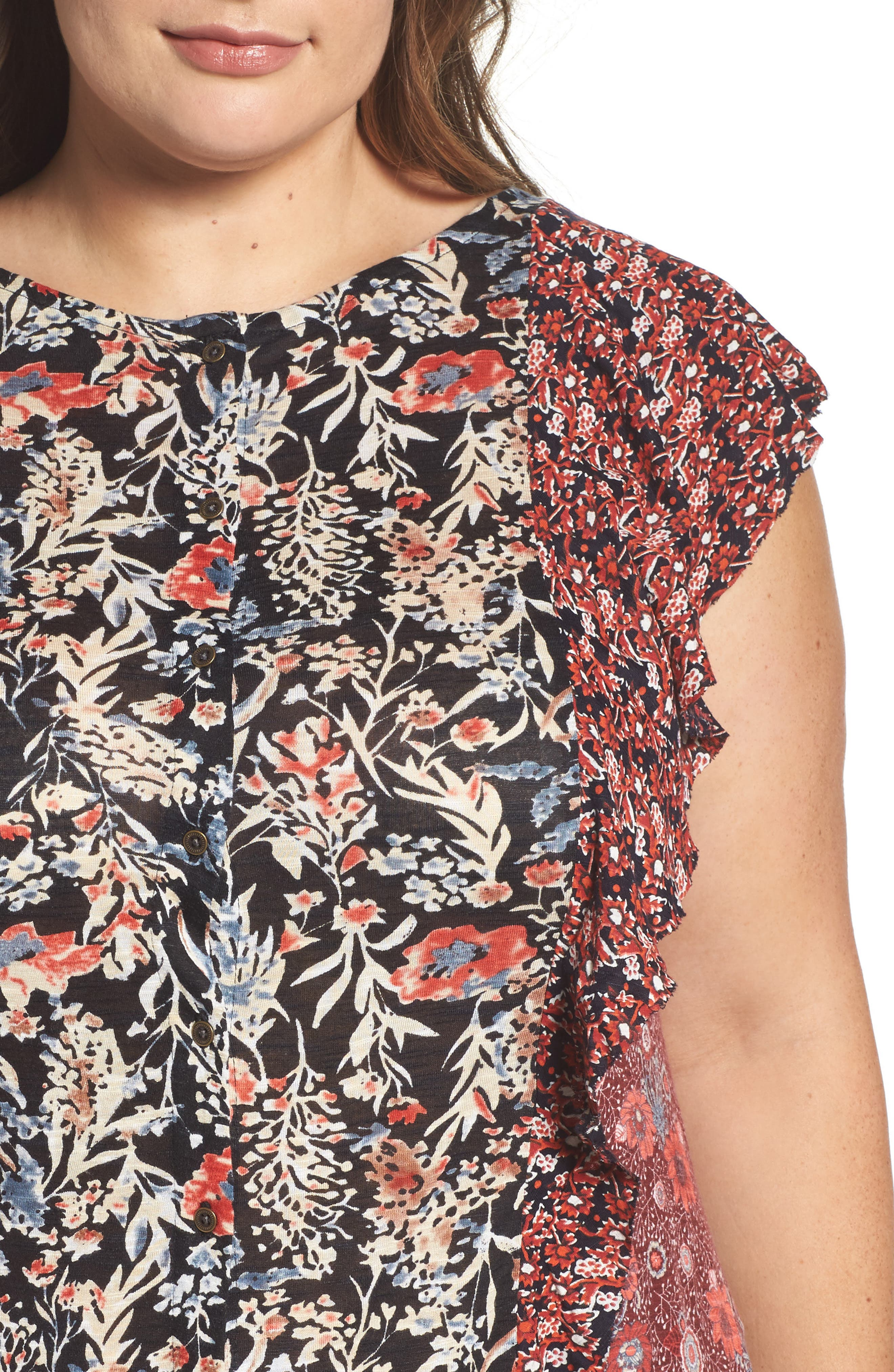 Mixed Print Ruffle Top,                             Alternate thumbnail 4, color,                             Red Multi