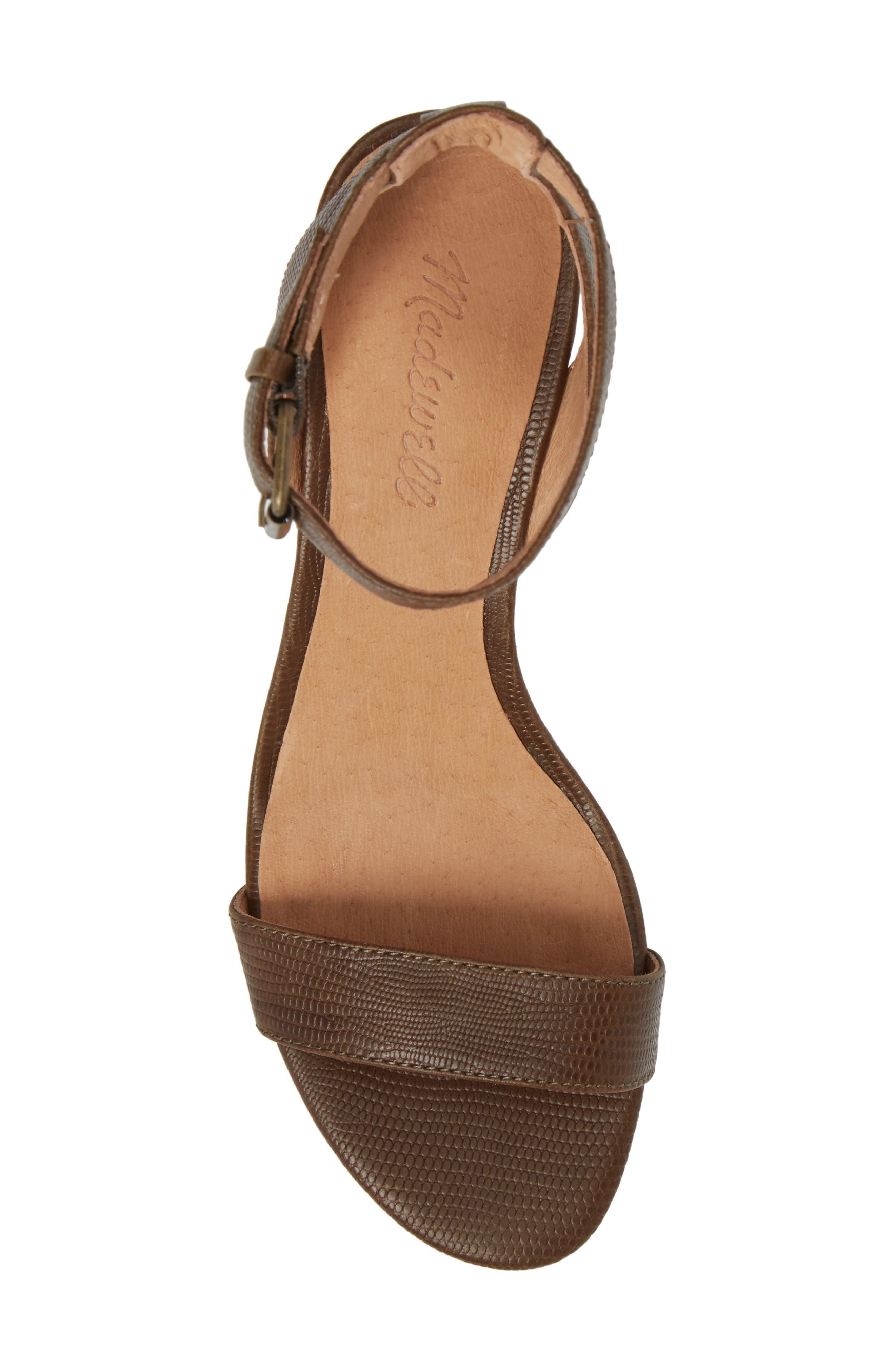 Alice Embossed Ankle Wrap Sandal,                             Alternate thumbnail 5, color,                             Safari Khaki Leather
