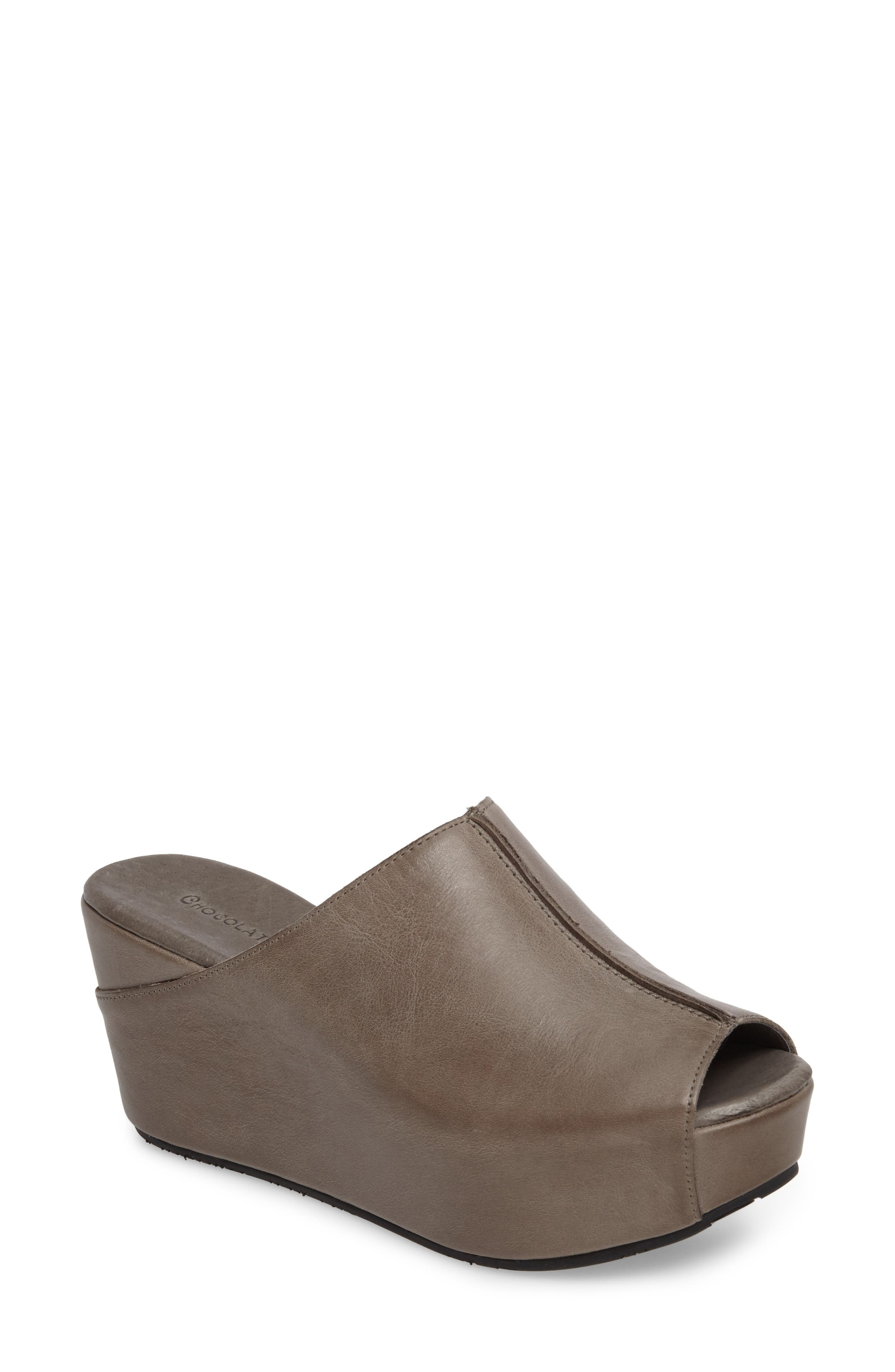 Wynn Peep Toe Mule,                         Main,                         color, Graphite Leather