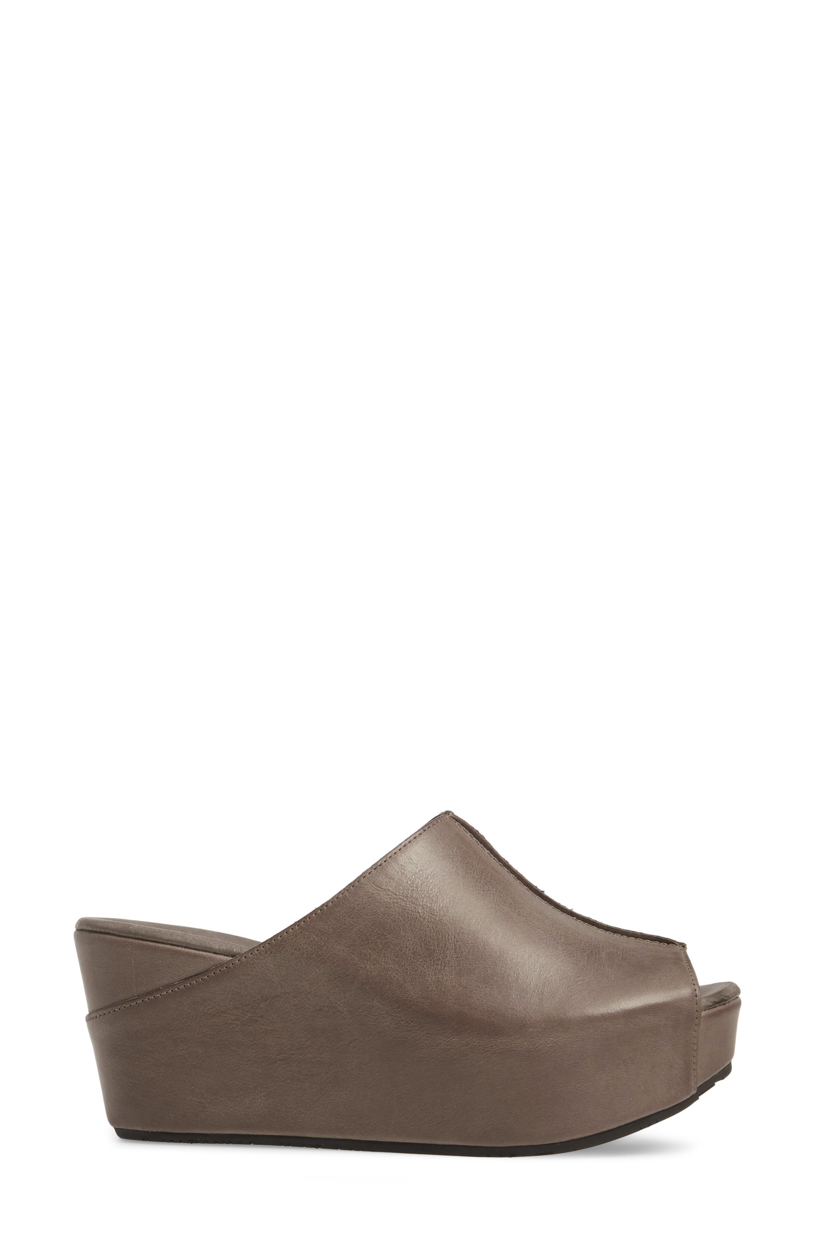 Wynn Peep Toe Mule,                             Alternate thumbnail 3, color,                             Graphite Leather