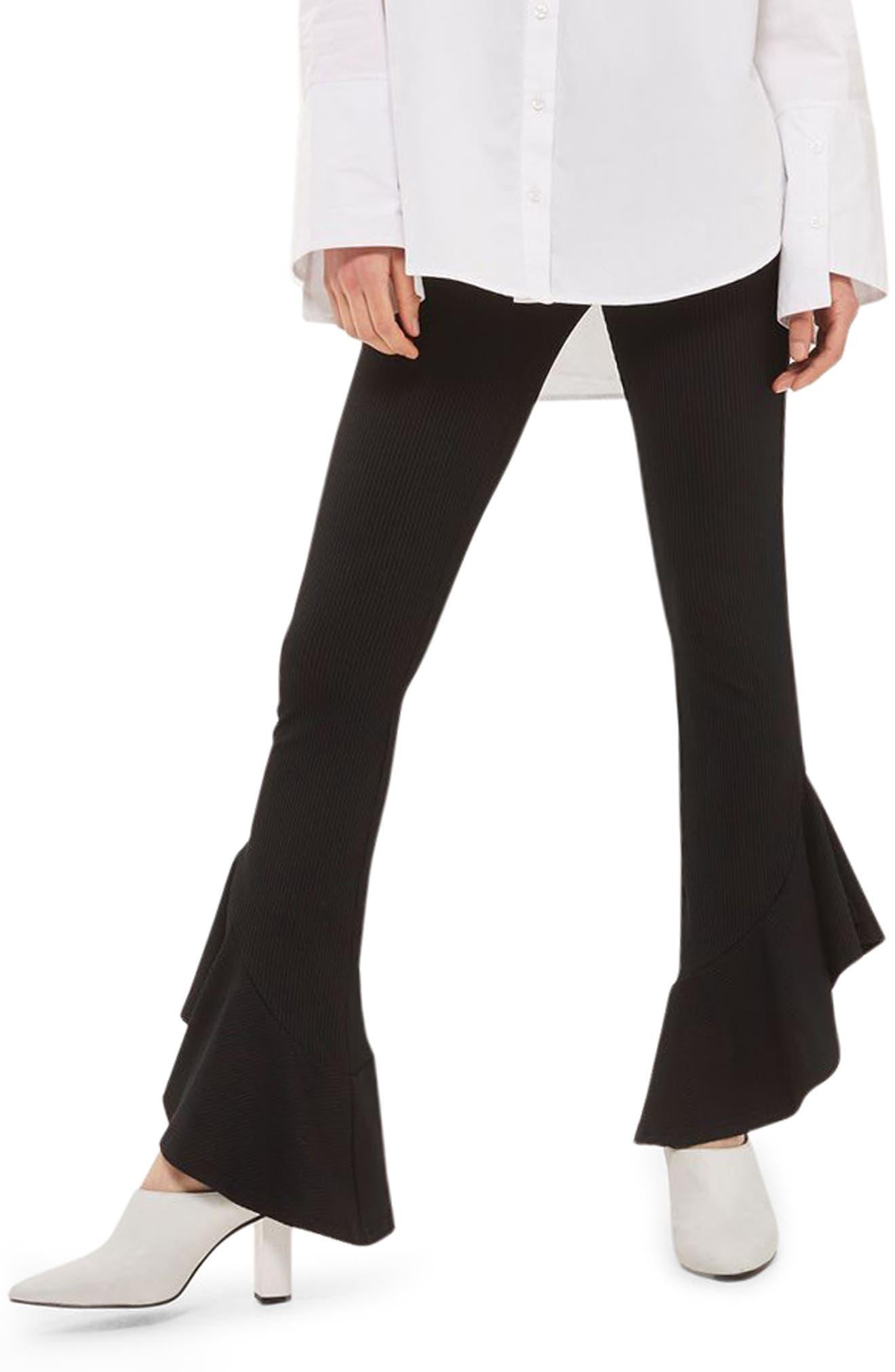 Mermaid Frill Flare Trousers,                             Main thumbnail 1, color,                             Black