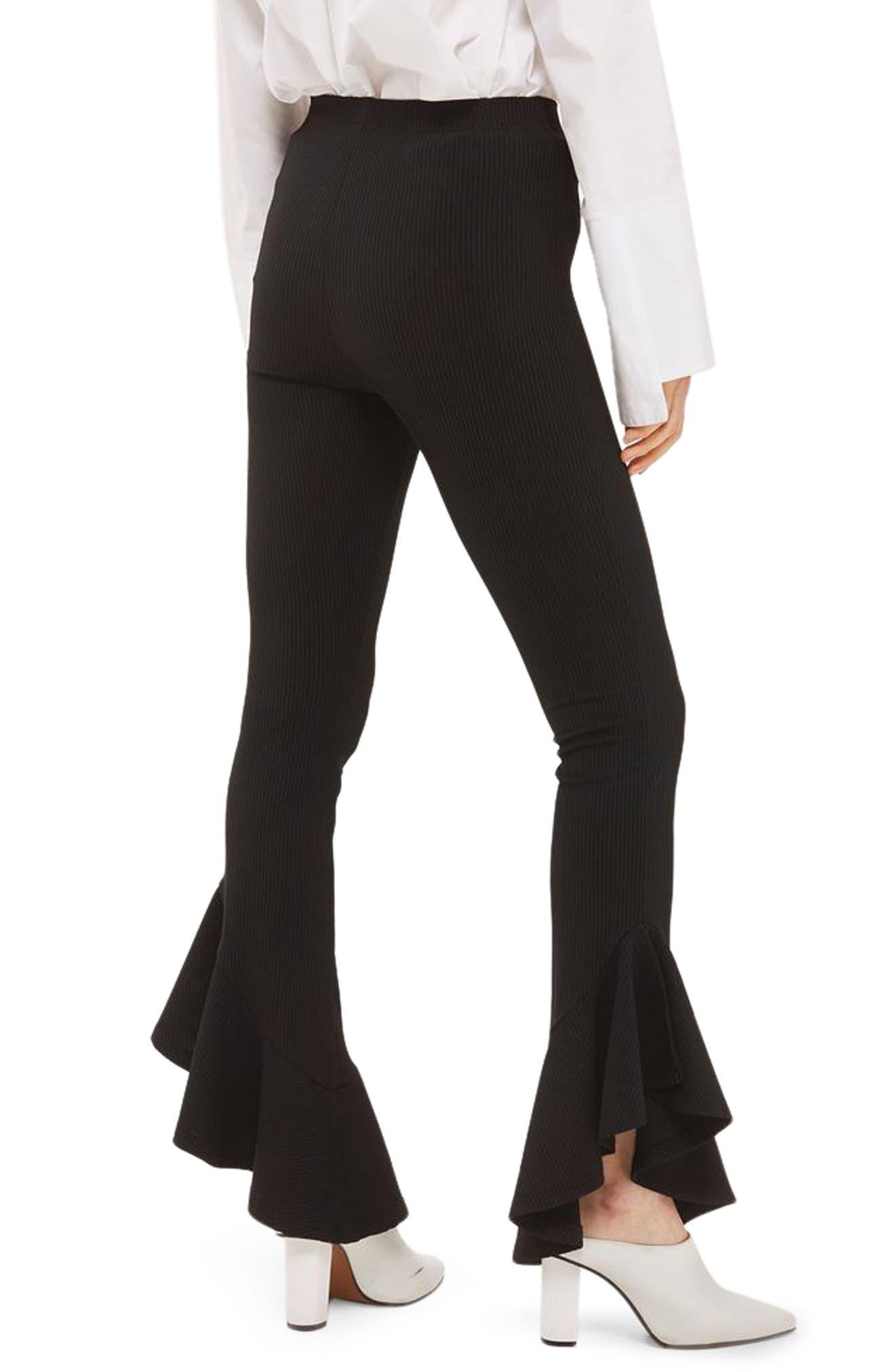 Mermaid Frill Flare Trousers,                             Alternate thumbnail 2, color,                             Black
