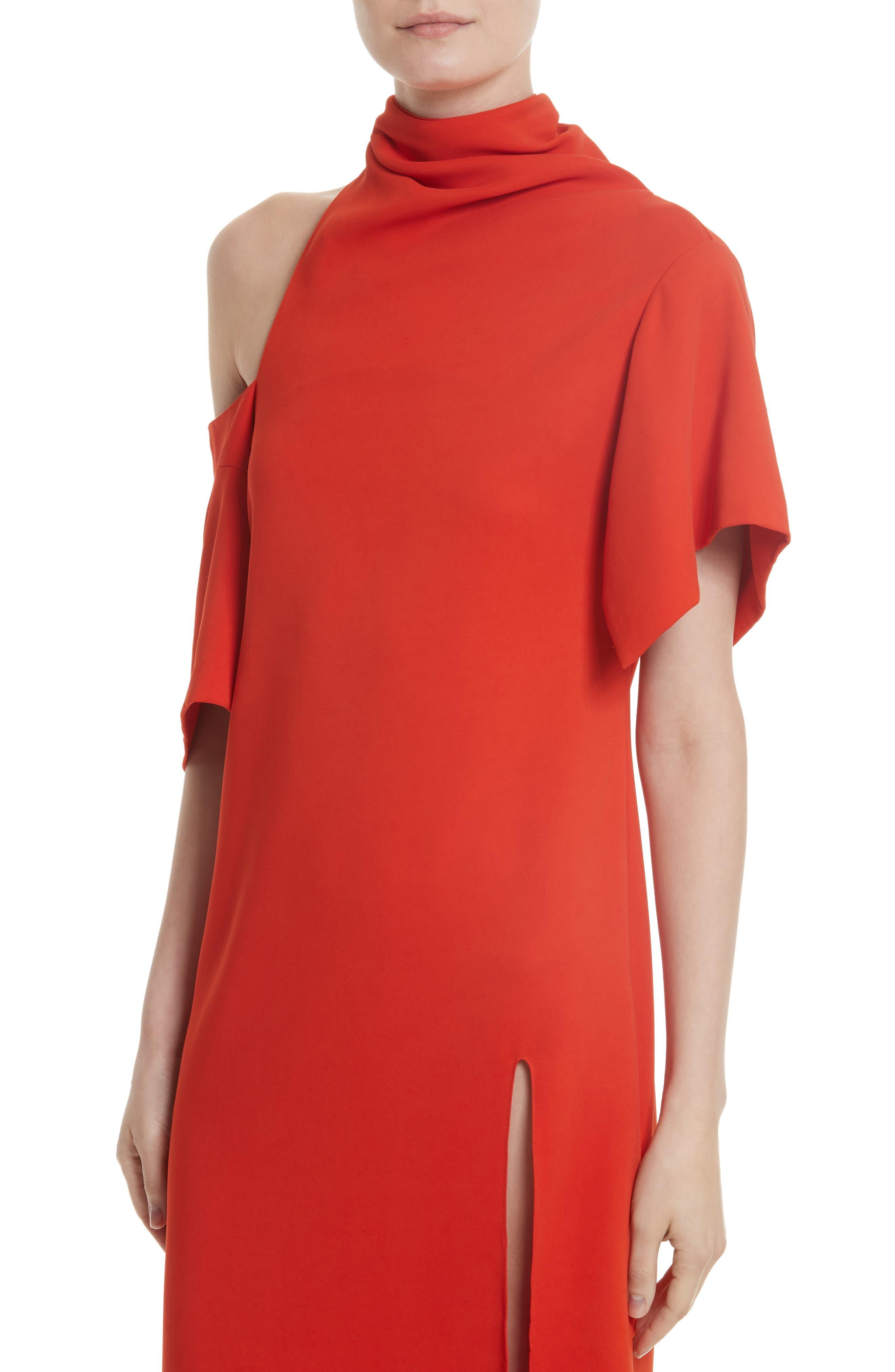 Bow Back Asymmetrical Dress,                             Alternate thumbnail 5, color,                             Red
