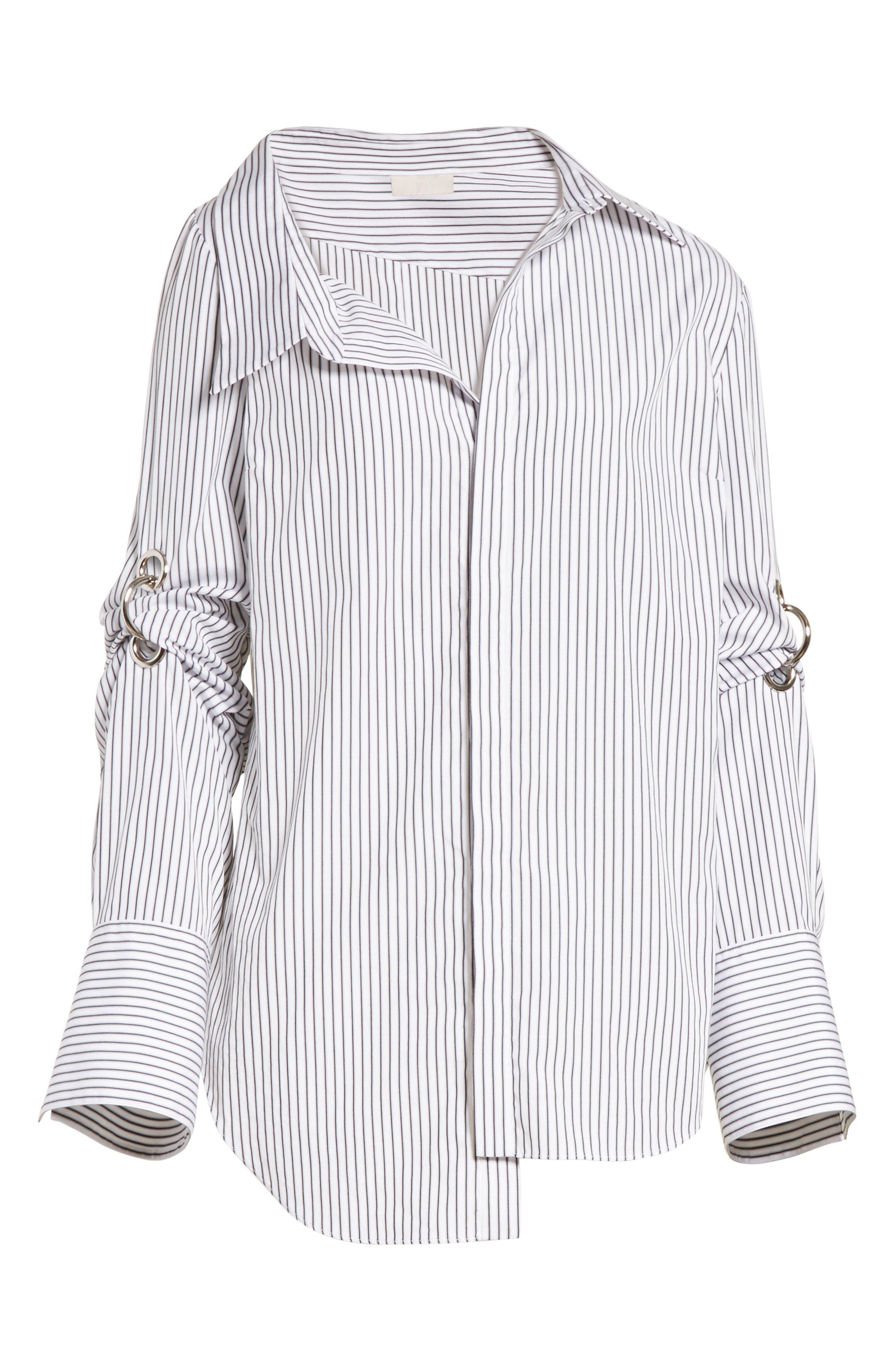 Grommet Scrunch Sleeve Shirt,                             Alternate thumbnail 7, color,                             Blue/ White