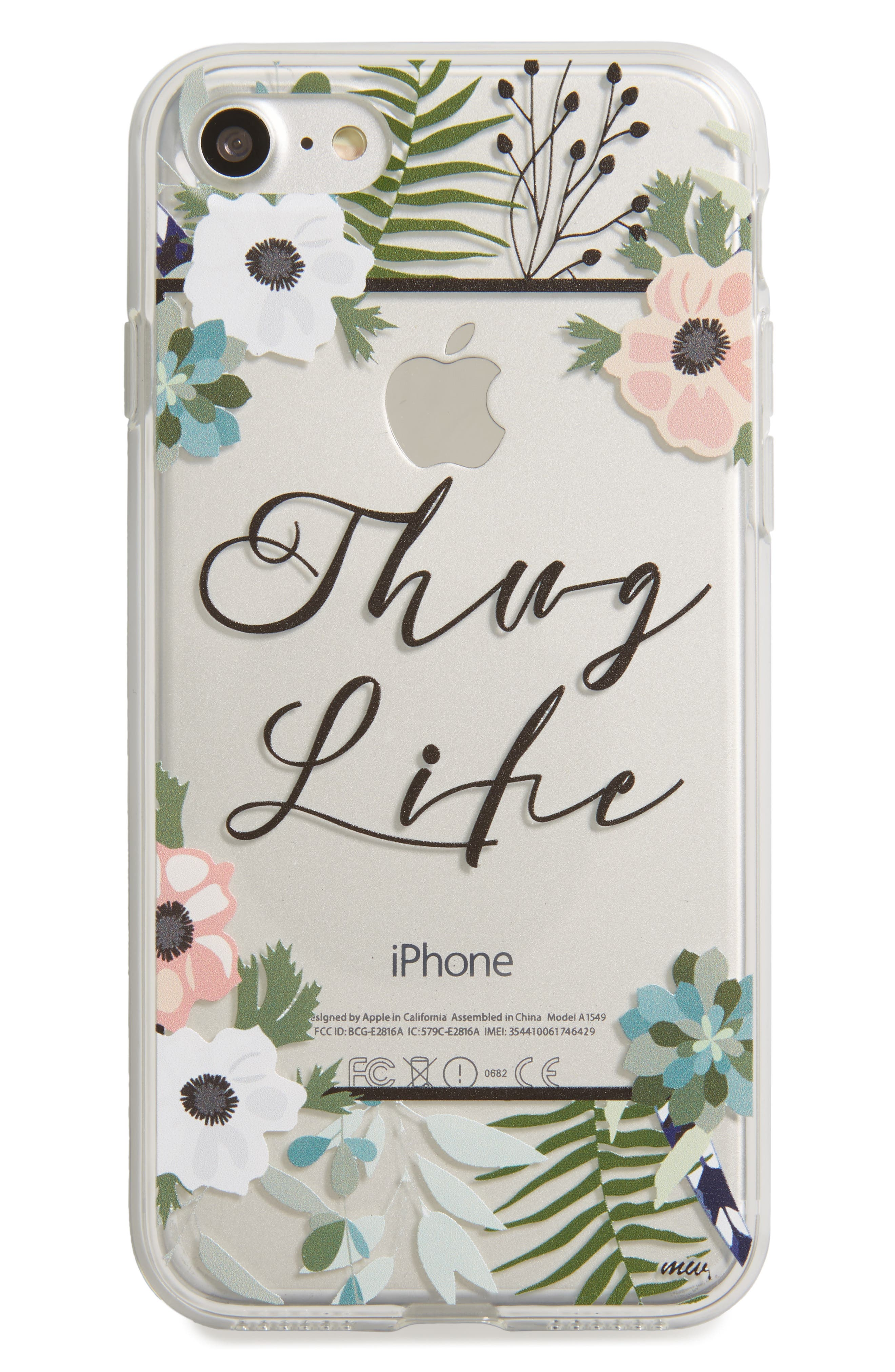 Floral Thug Life iPhone 7 Case,                         Main,                         color, Clear/ Green