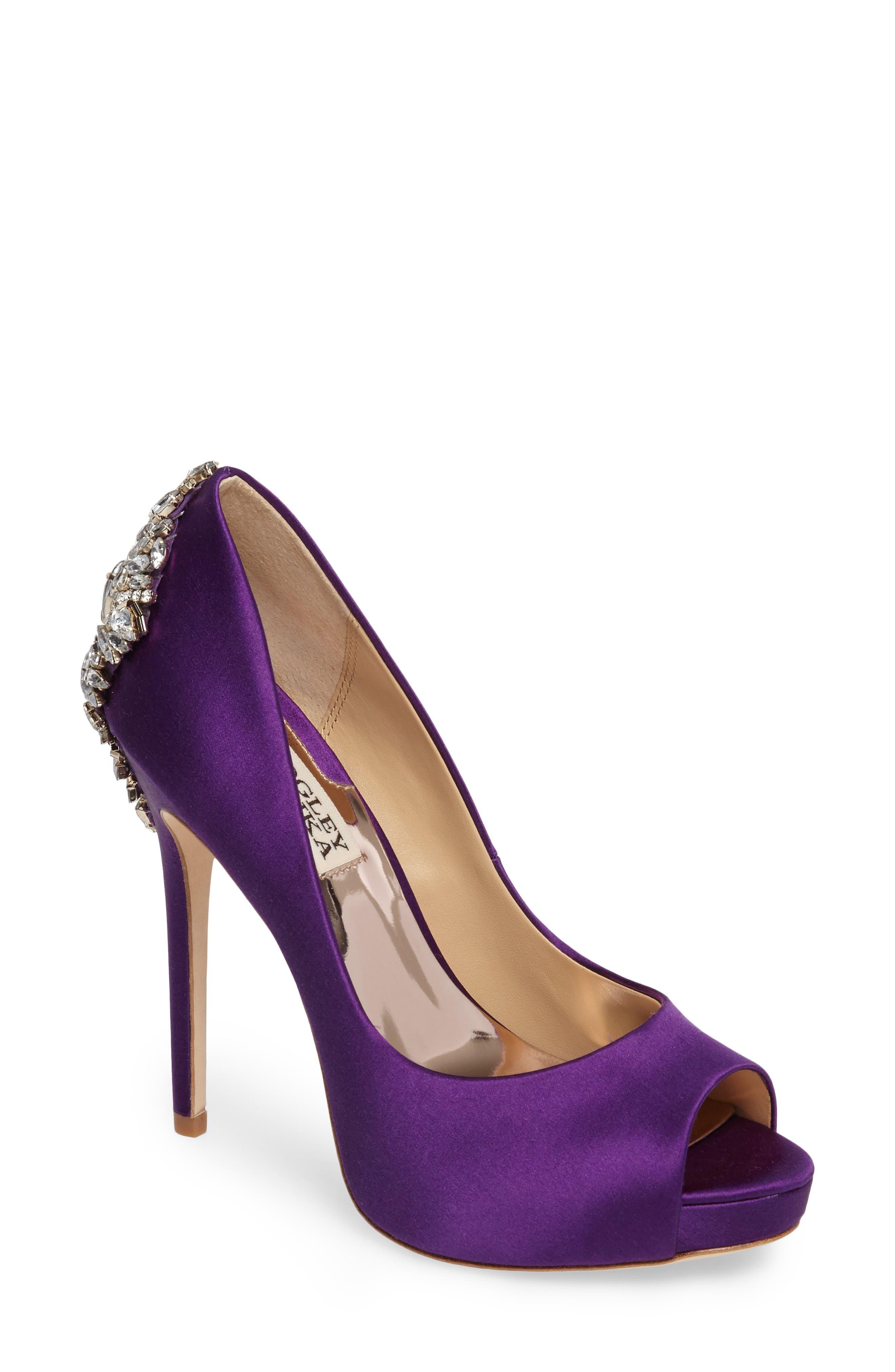 'Kiara' Crystal Back Open Toe Pump,                             Main thumbnail 1, color,                             Purple Satin