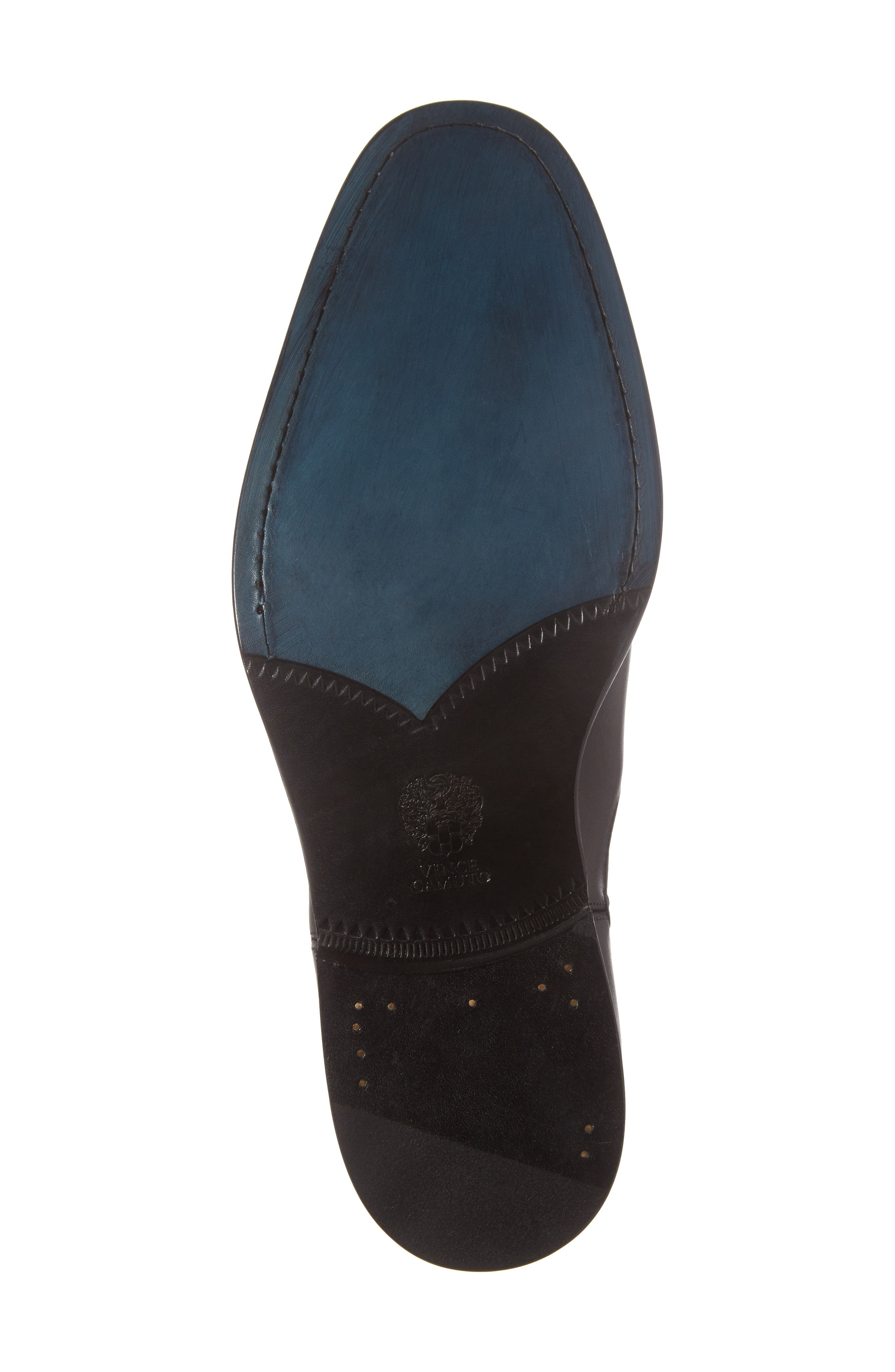 Haldien Chelsea Boot,                             Alternate thumbnail 6, color,                             Black Leather/ Elastic