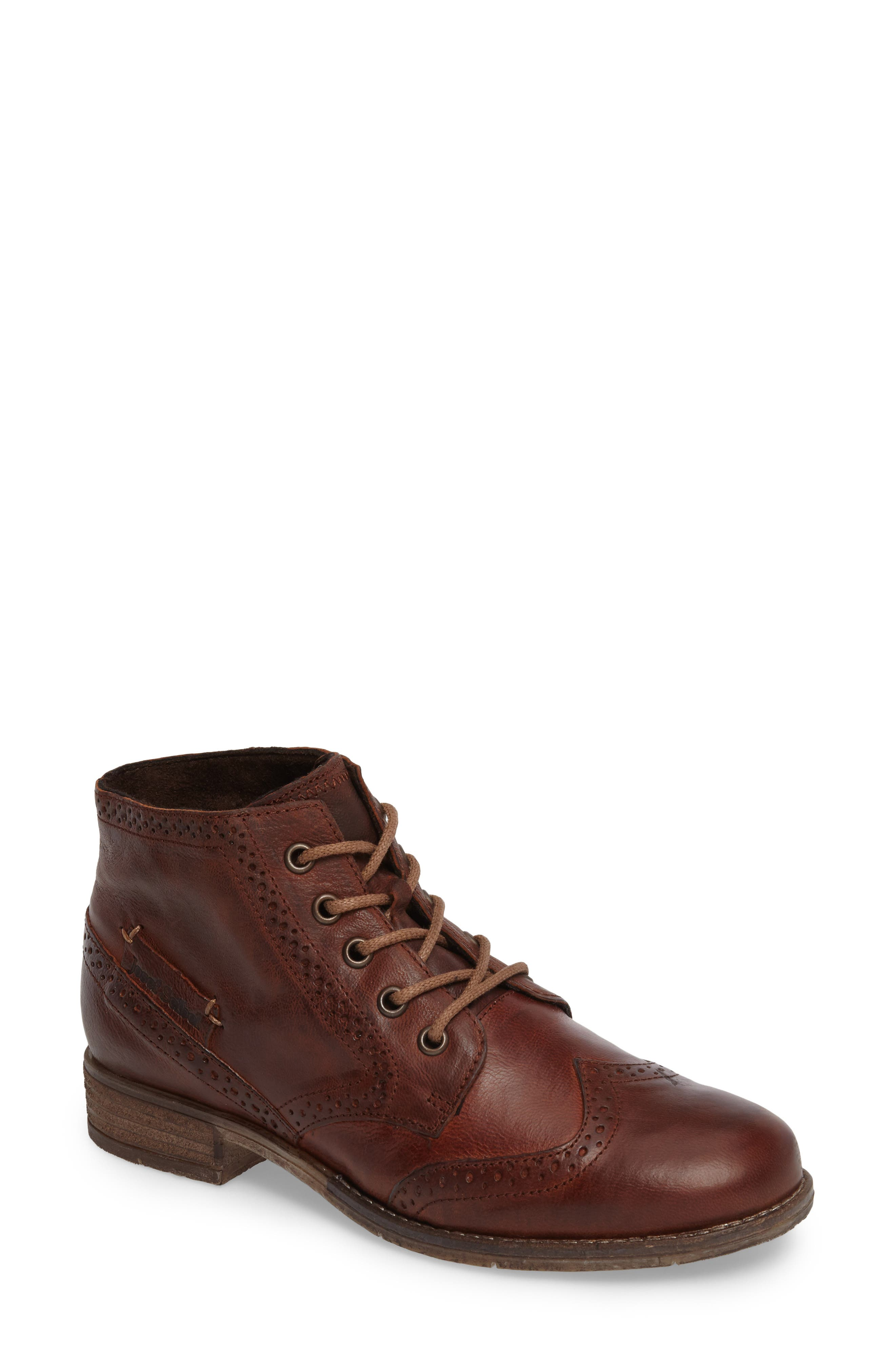 'Sienna 15' Wingtip Bootie,                         Main,                         color, Camel Leather
