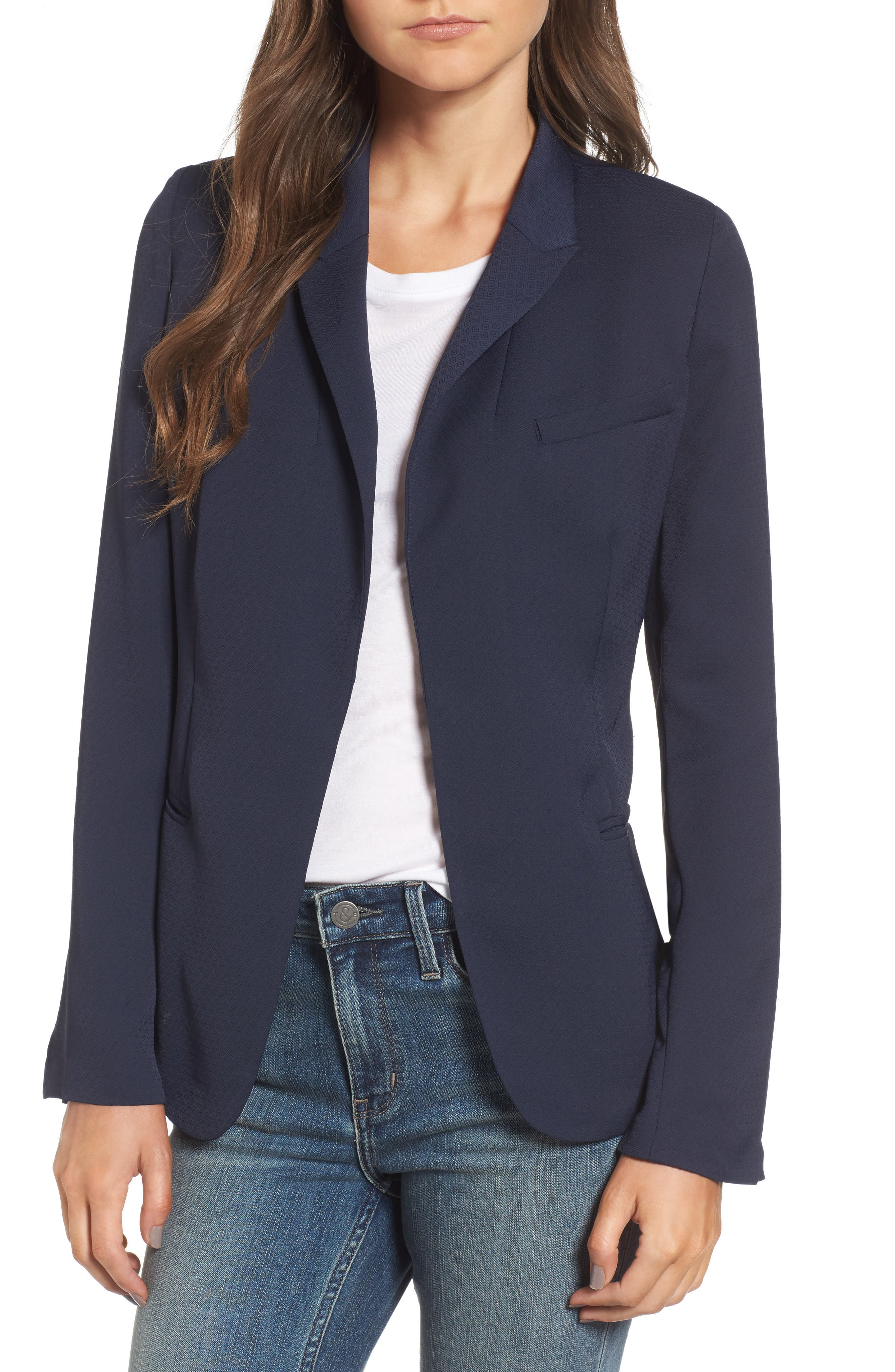 Treasure & Bond Draped Jacquard Blazer