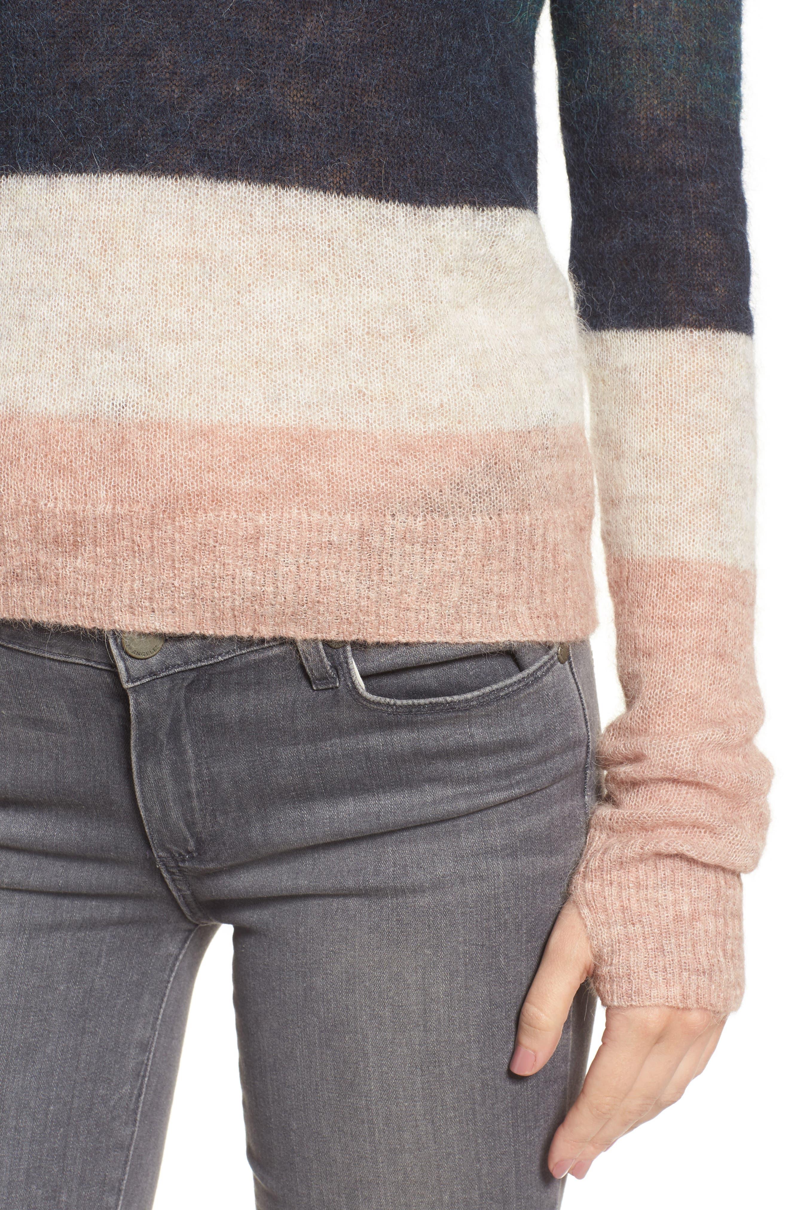 Stripe Alpaca Blend Sweater,                             Alternate thumbnail 4, color,                             Fall Multi Stripe