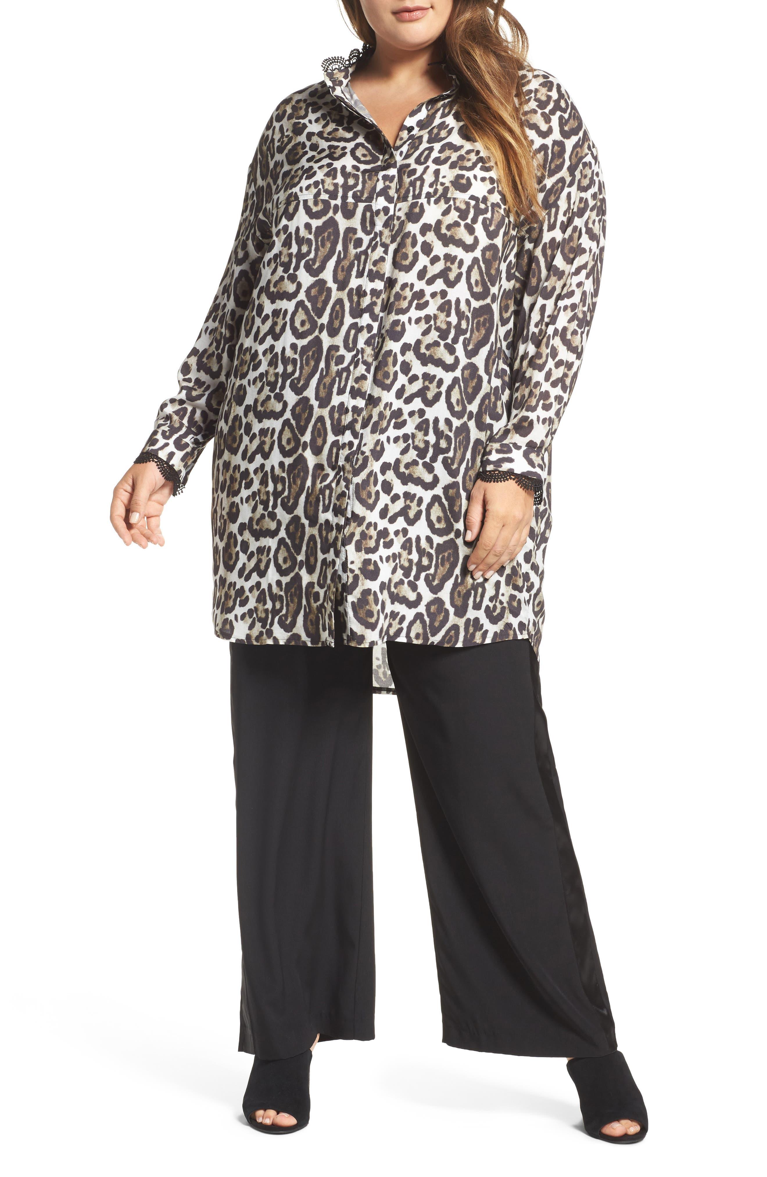 ELVI Oversize Leopard Print Blouse (Plus Size)