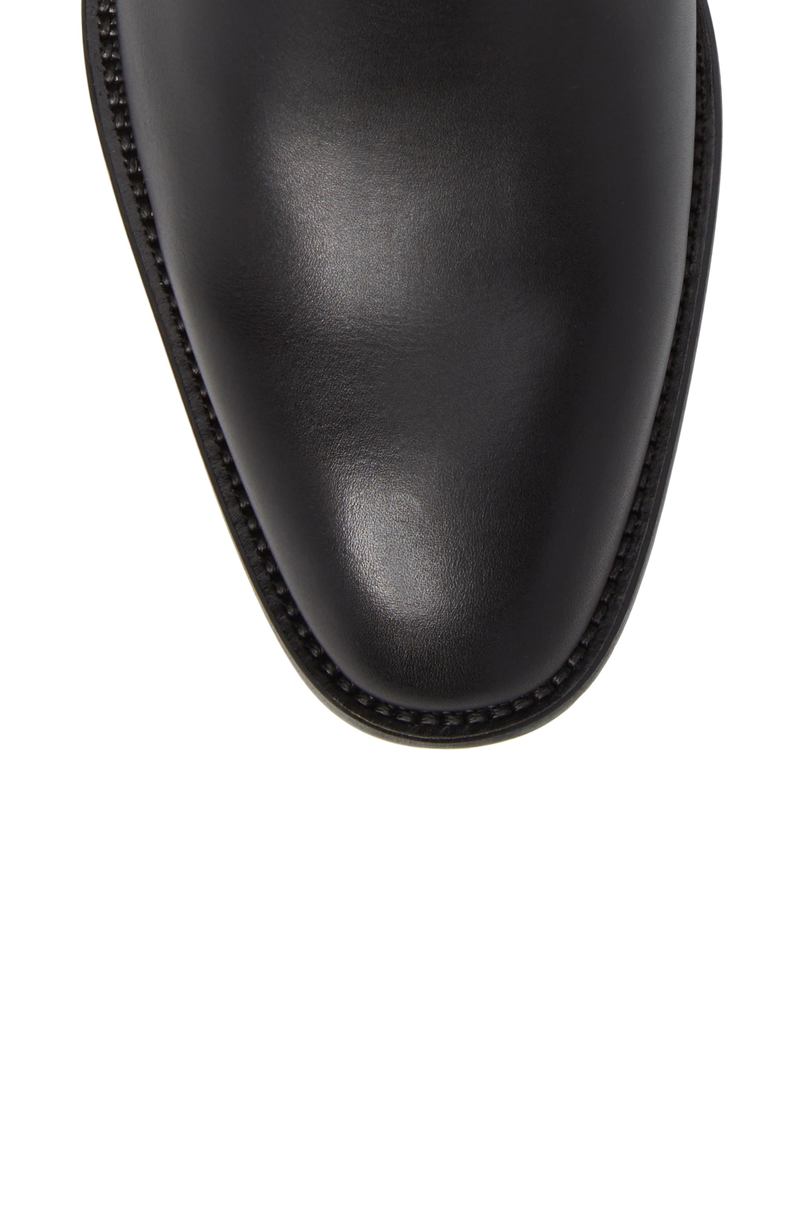 Haldien Chelsea Boot,                             Alternate thumbnail 5, color,                             Black Leather/ Elastic