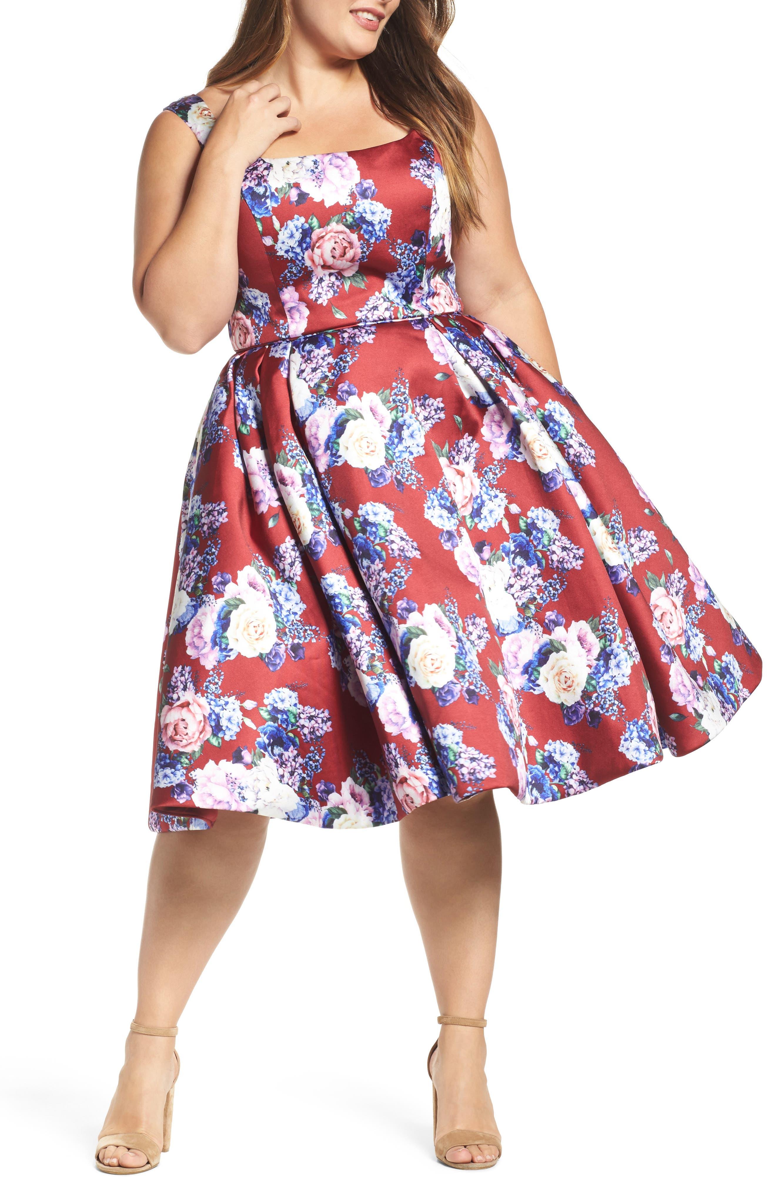 Floral Fit & Flare Dress,                         Main,                         color, Burgundy/ Multi
