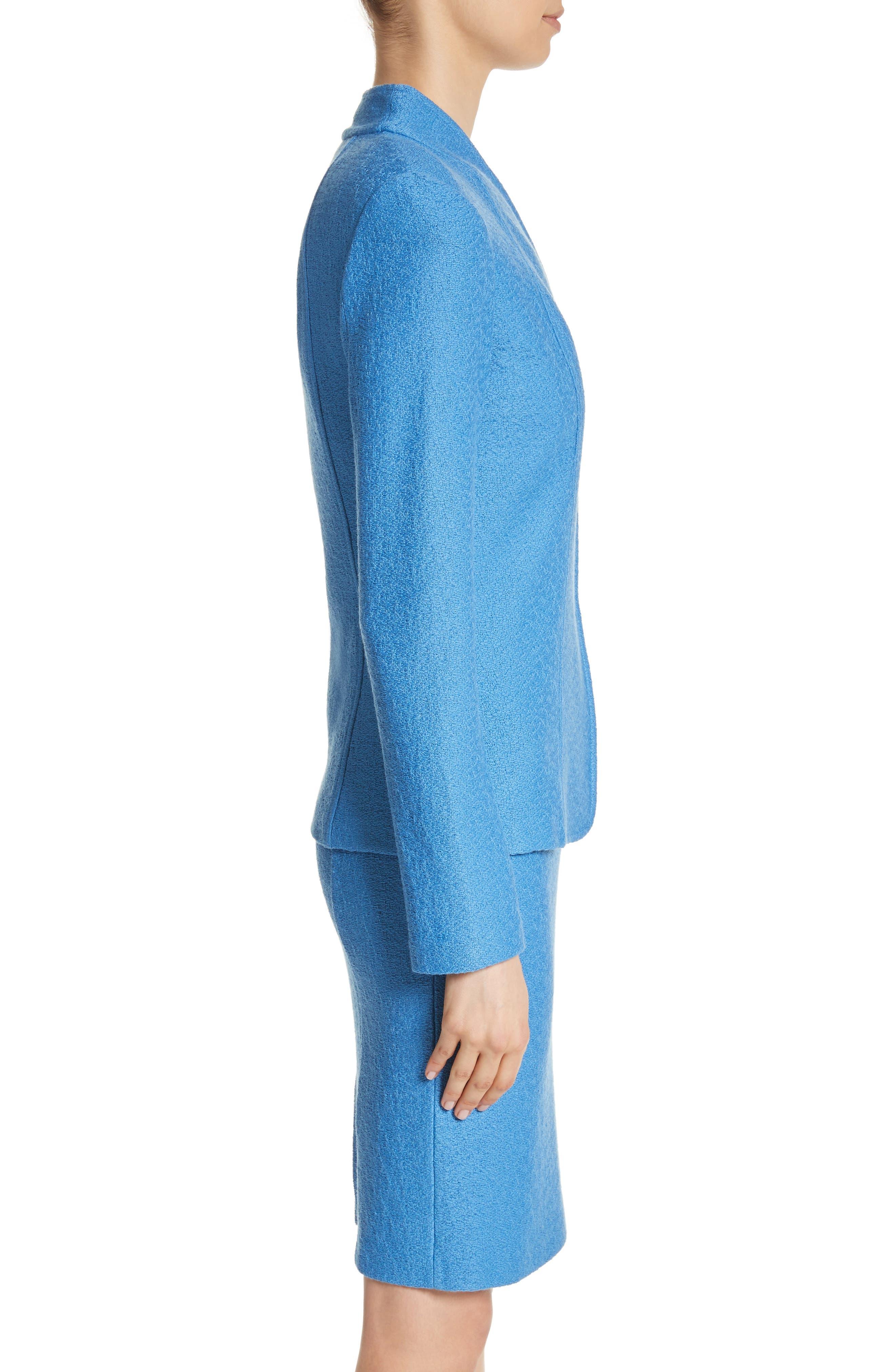 Hannah Knit Stand Collar Jacket,                             Alternate thumbnail 3, color,                             Niagara