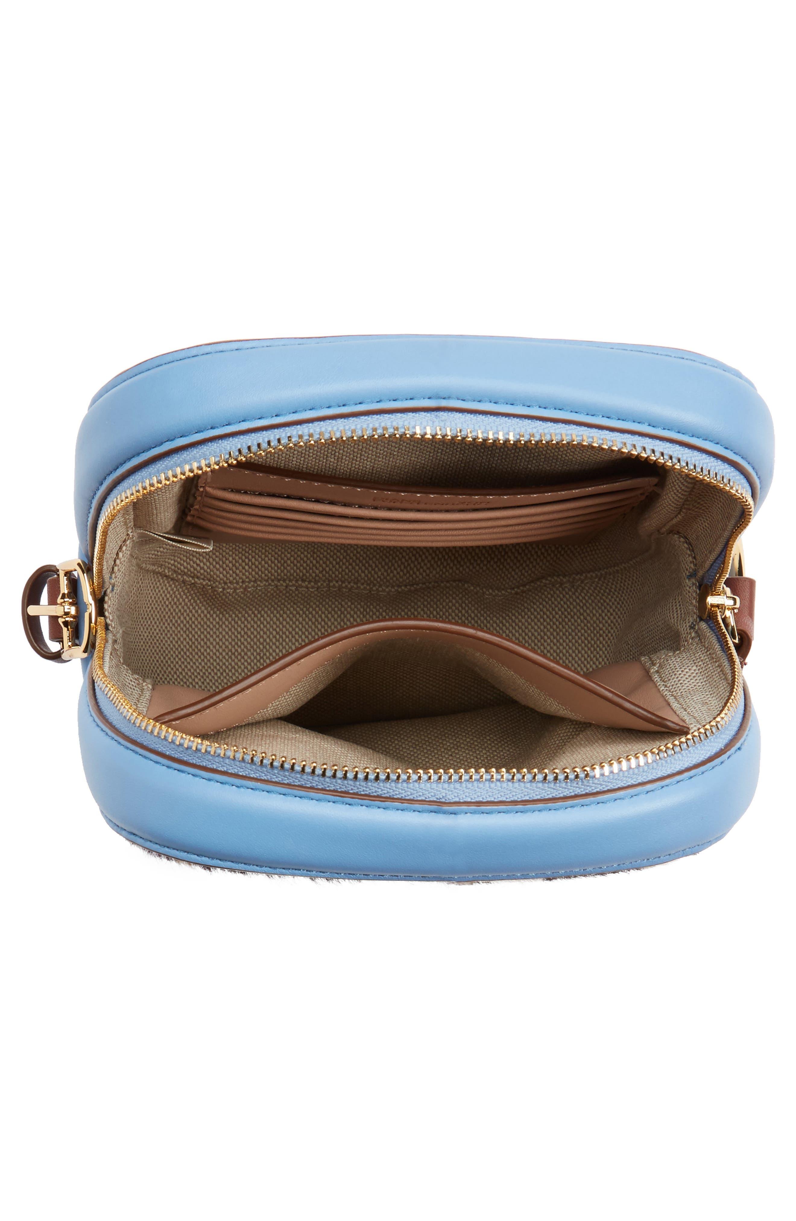 Leather & Genuine Calf Hair Camera Bag,                             Alternate thumbnail 4, color,                             Leopard/ Powder Blue