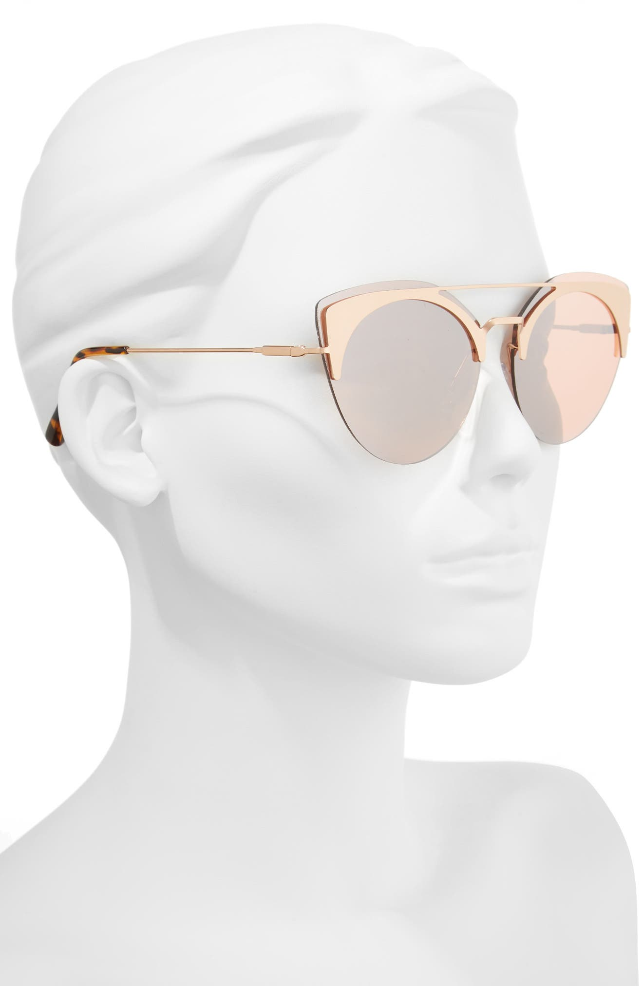 54mm Round Sunglasses,                             Alternate thumbnail 2, color,                             Gold/ Brown