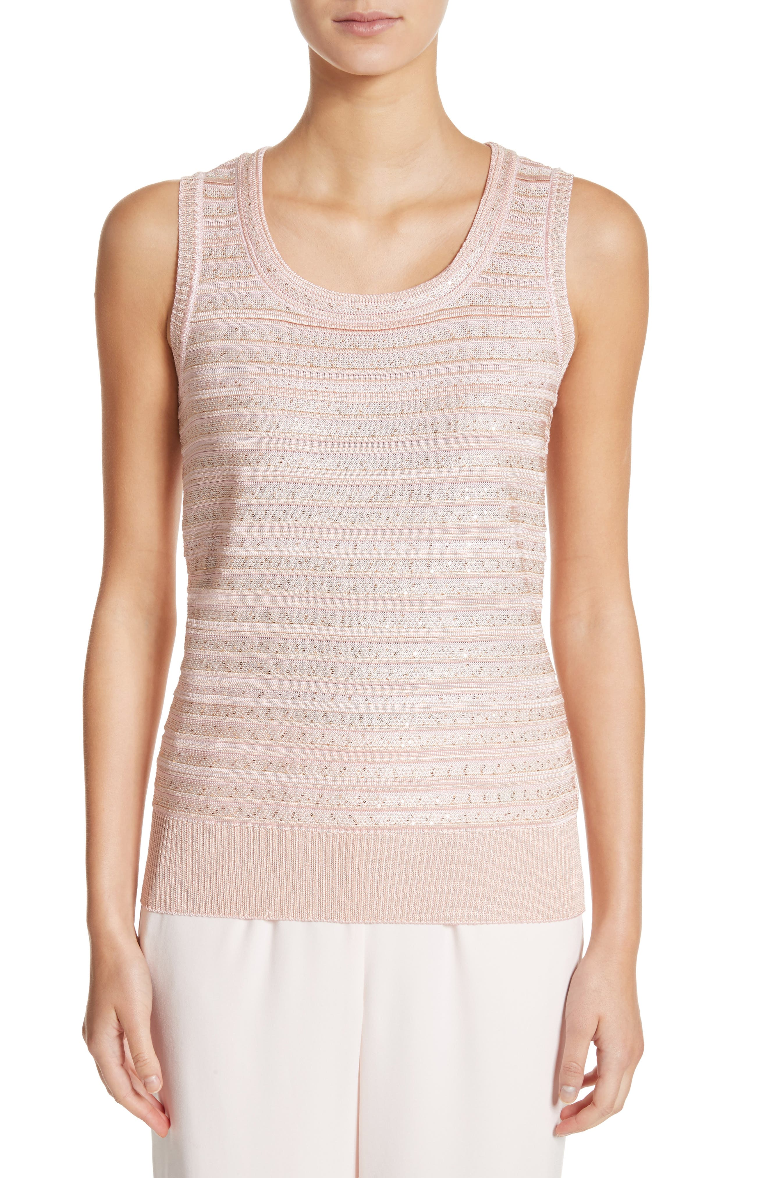 Welted Sequin Knit Shell,                             Main thumbnail 1, color,                             Blush