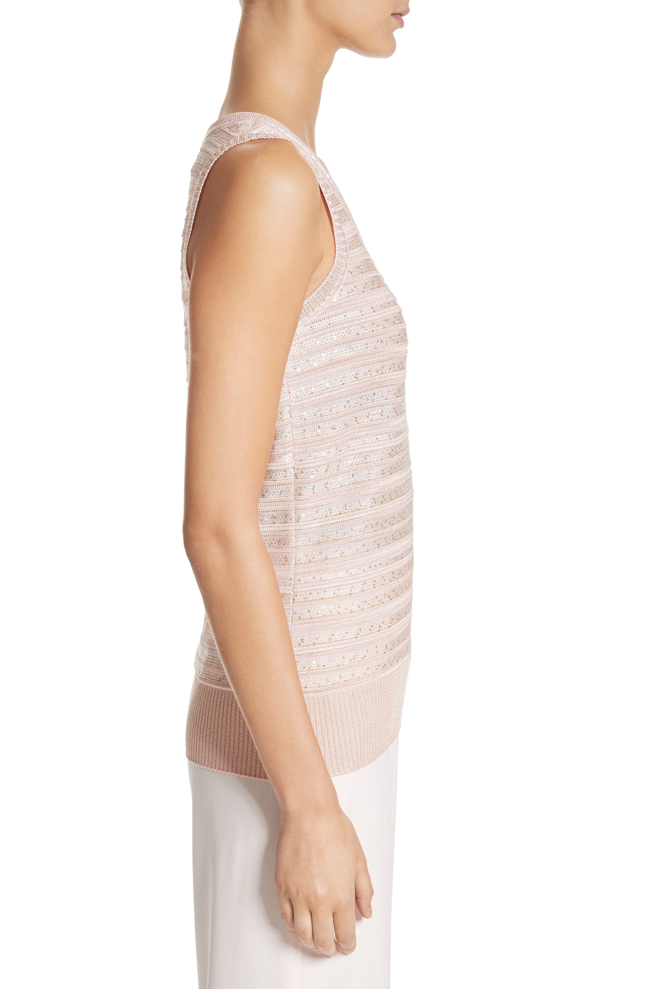 Welted Sequin Knit Shell,                             Alternate thumbnail 3, color,                             Blush