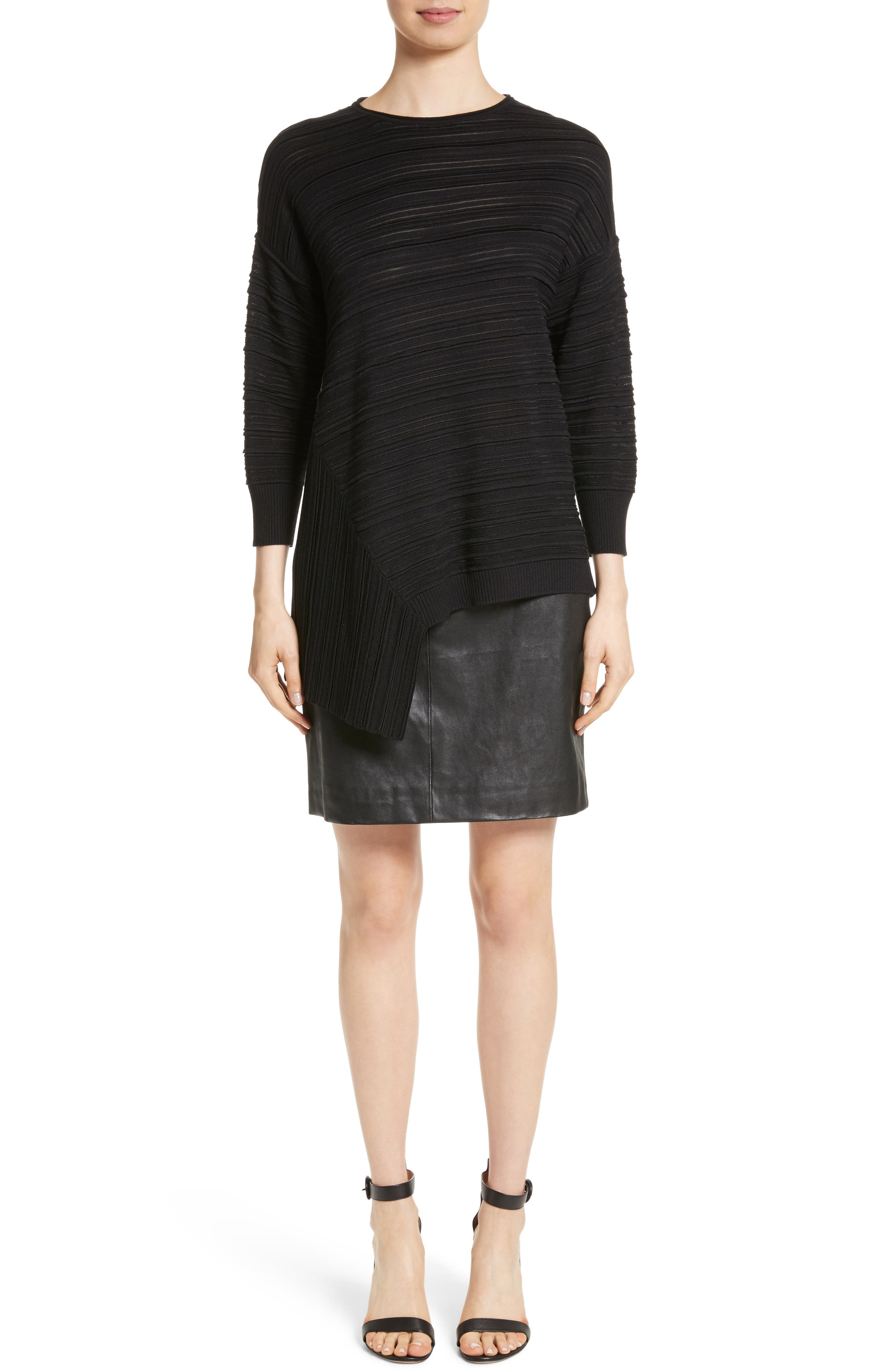 Stretch Nappa Leather Skirt,                             Alternate thumbnail 7, color,                             Caviar