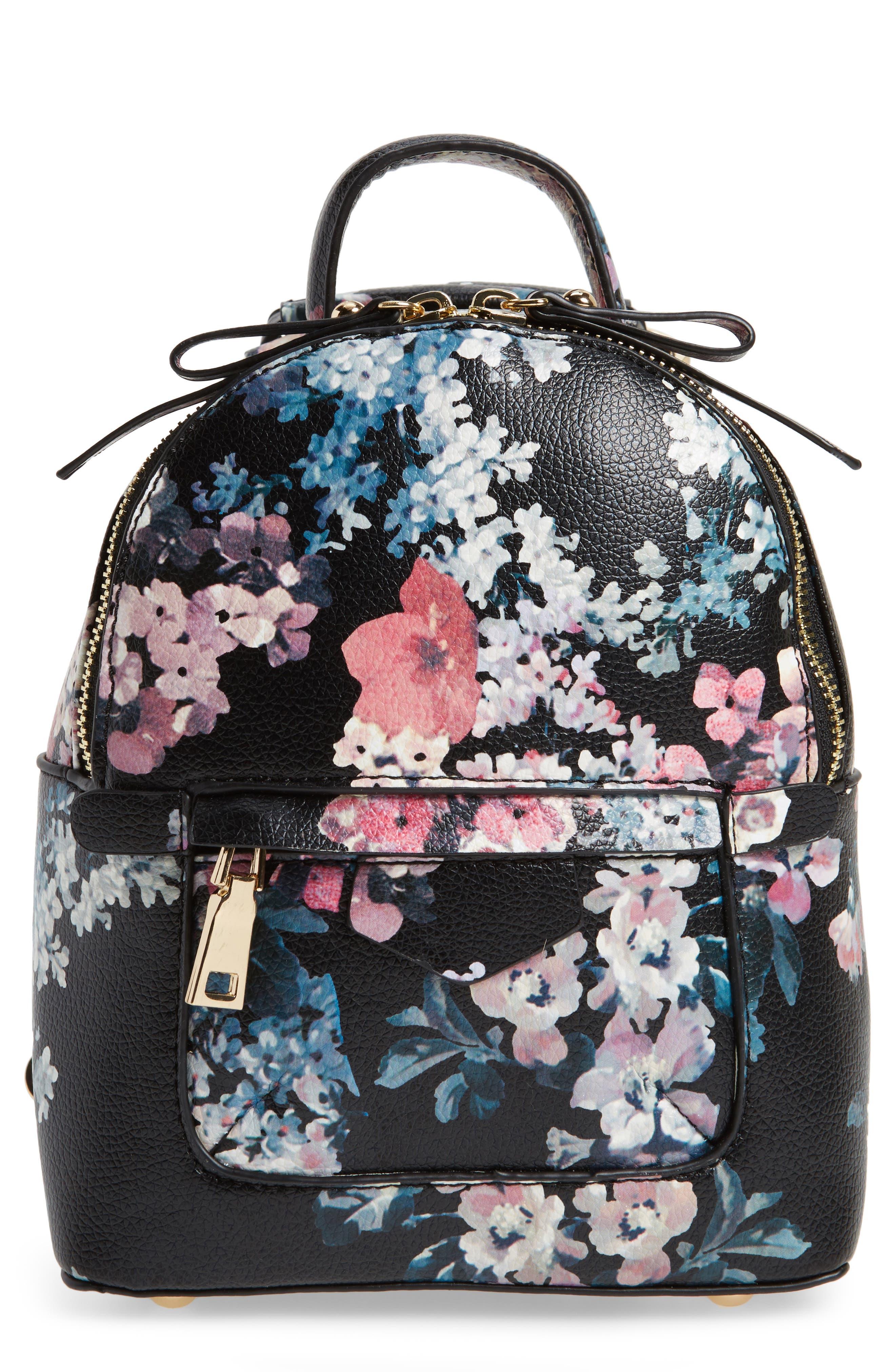 Mini Floral Faux Leather Mini Backpack,                             Main thumbnail 1, color,                             Black Floral
